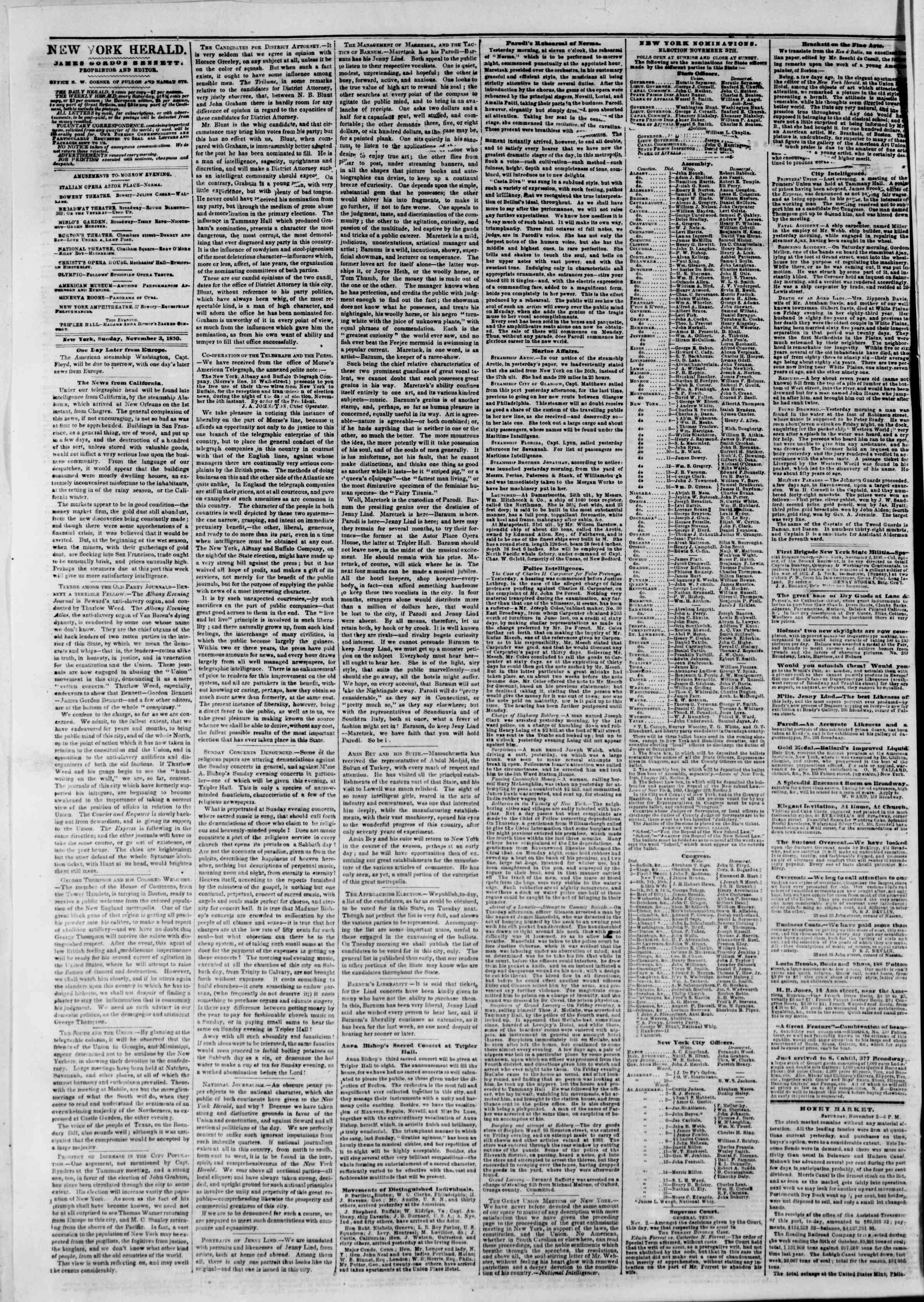 Newspaper of The New York Herald dated November 3, 1850 Page 2