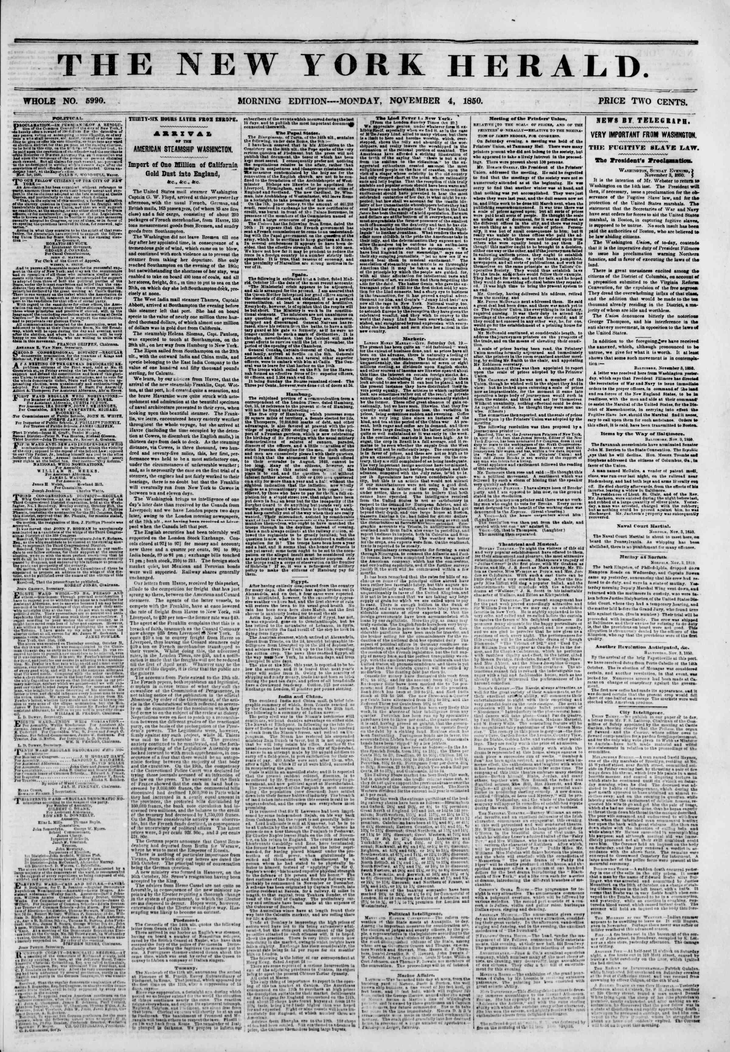 4 Kasım 1850 tarihli The New York Herald Gazetesi Sayfa 1