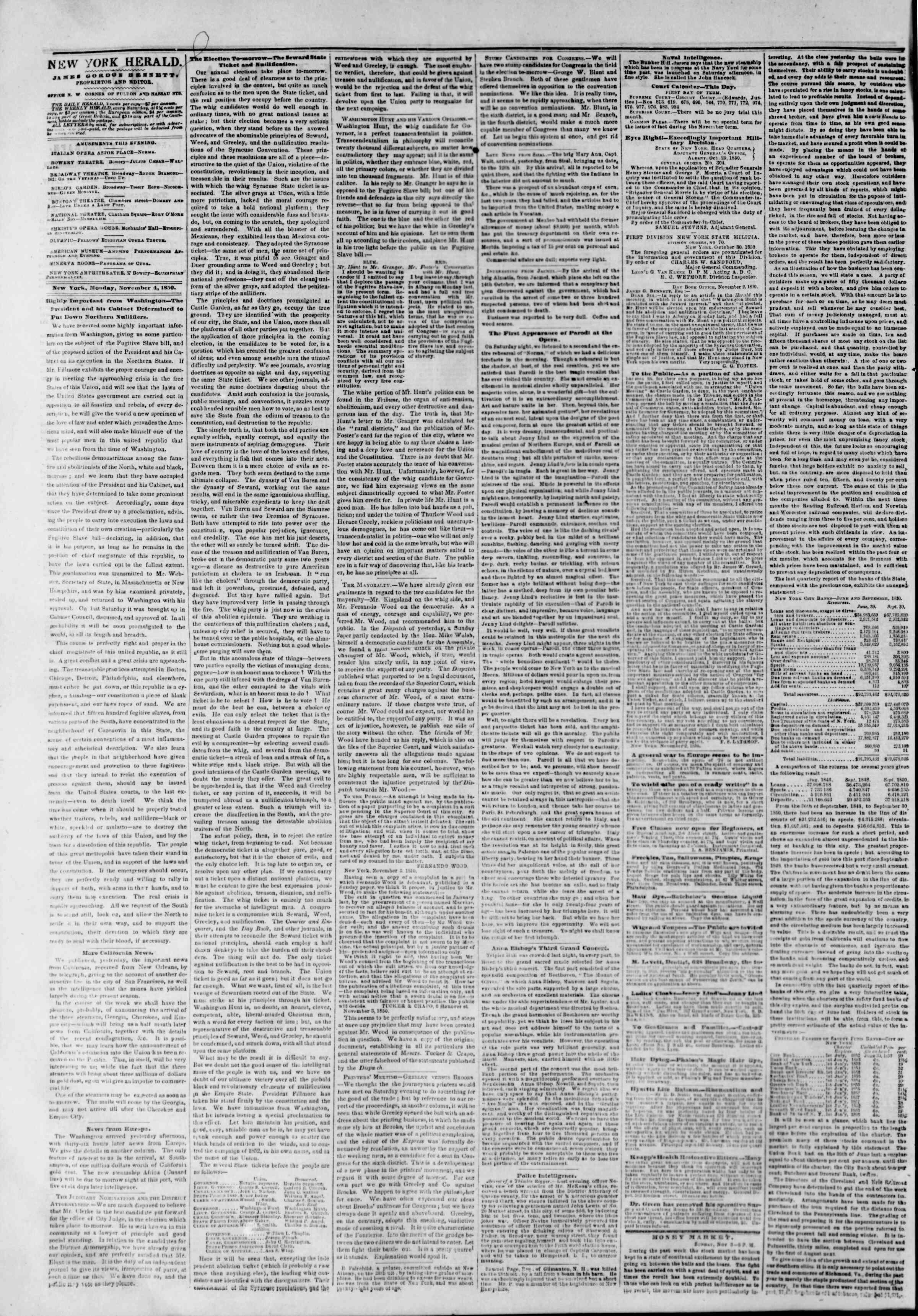 4 Kasım 1850 tarihli The New York Herald Gazetesi Sayfa 2