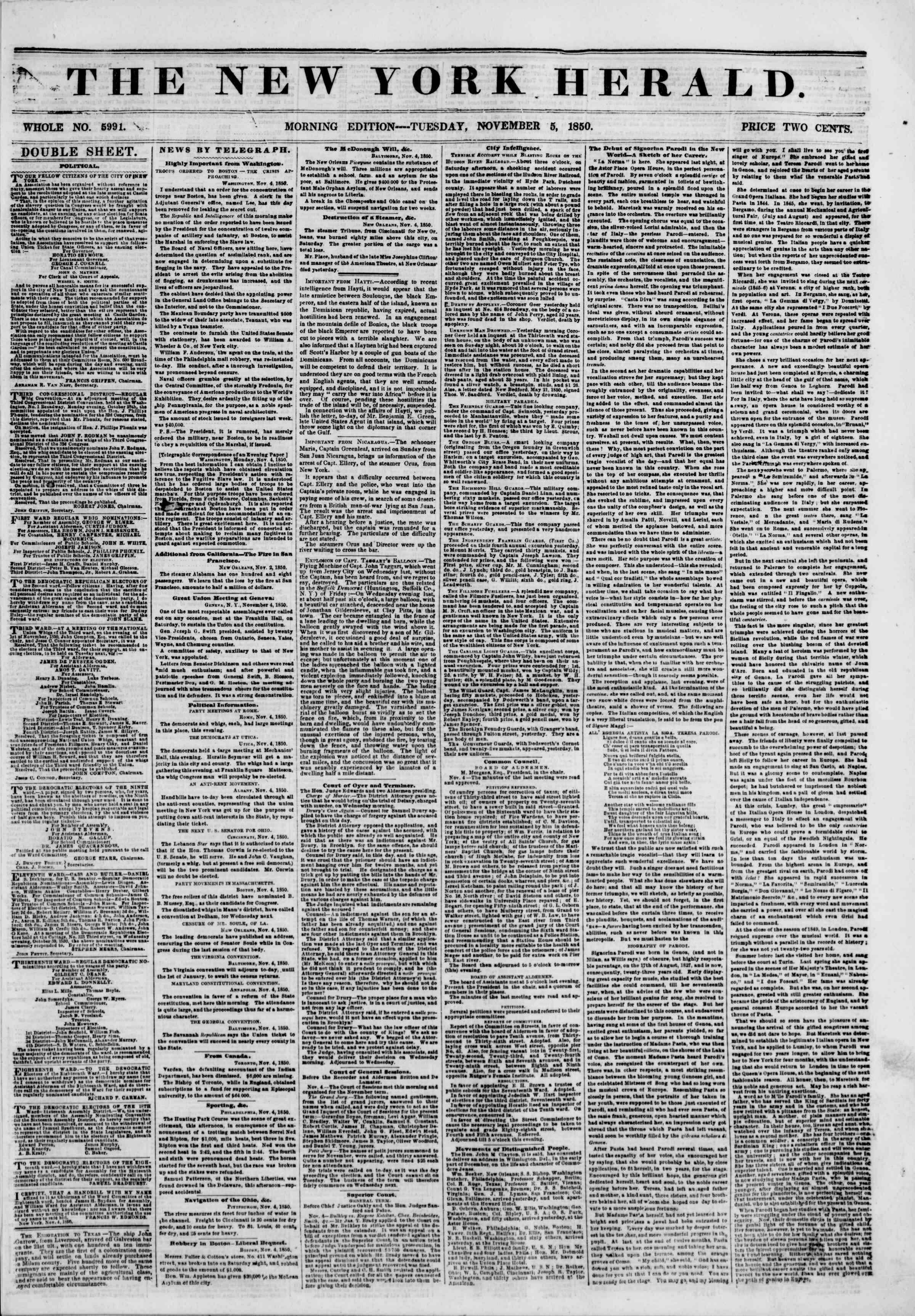 5 Kasım 1850 tarihli The New York Herald Gazetesi Sayfa 1