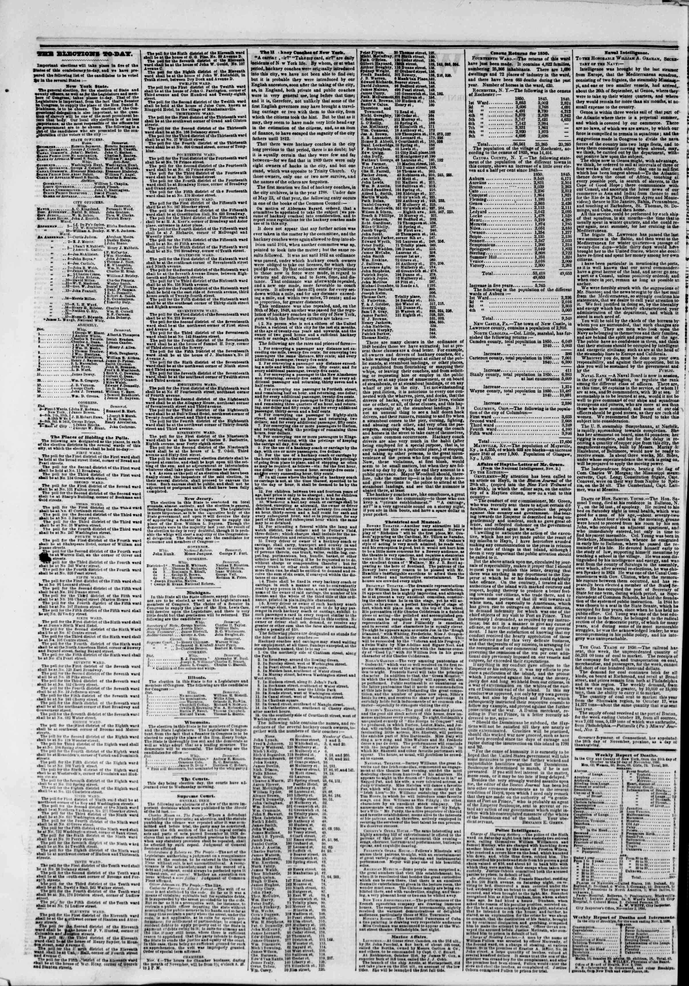 Newspaper of The New York Herald dated November 5, 1850 Page 2