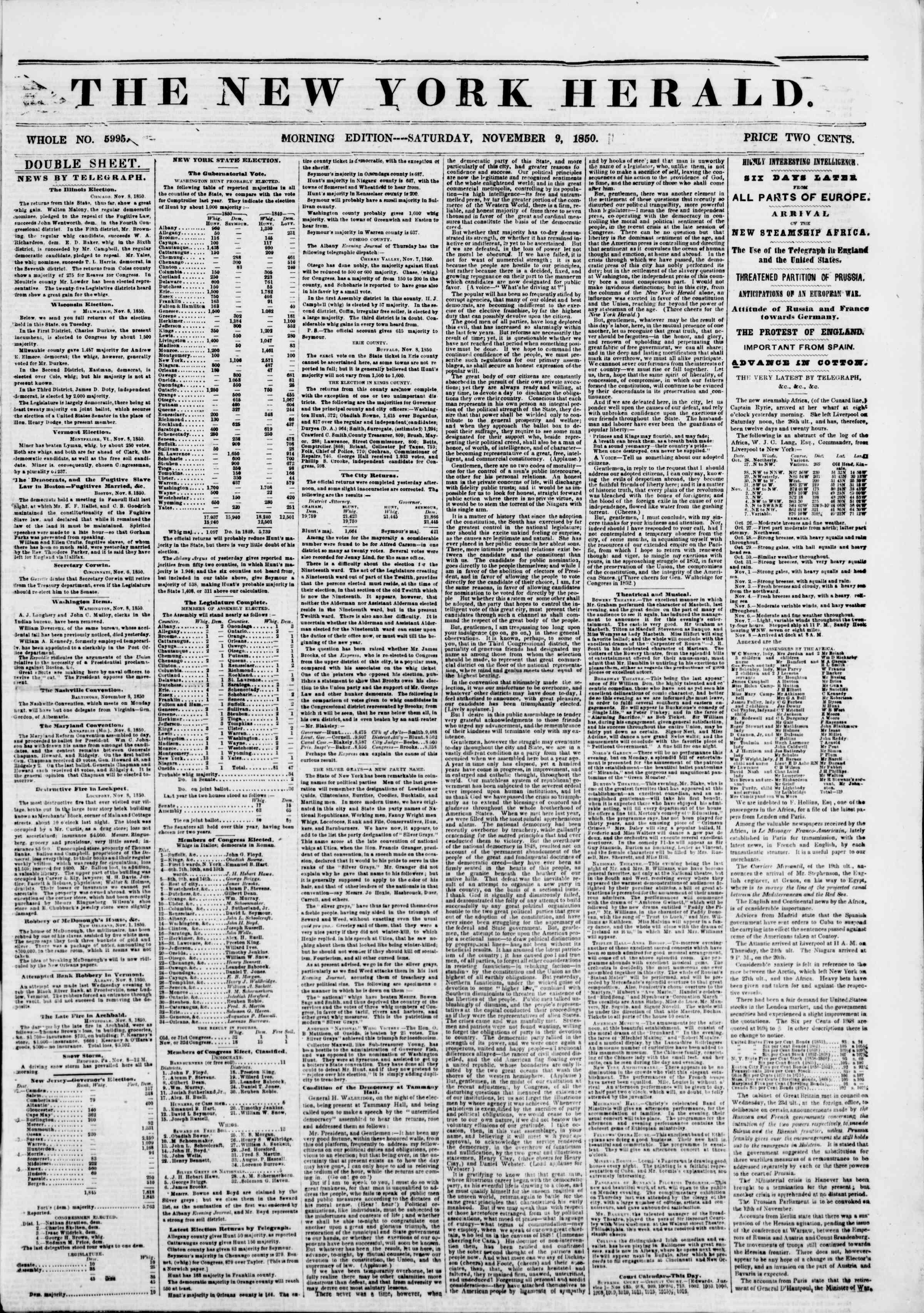 9 Kasım 1850 tarihli The New York Herald Gazetesi Sayfa 1