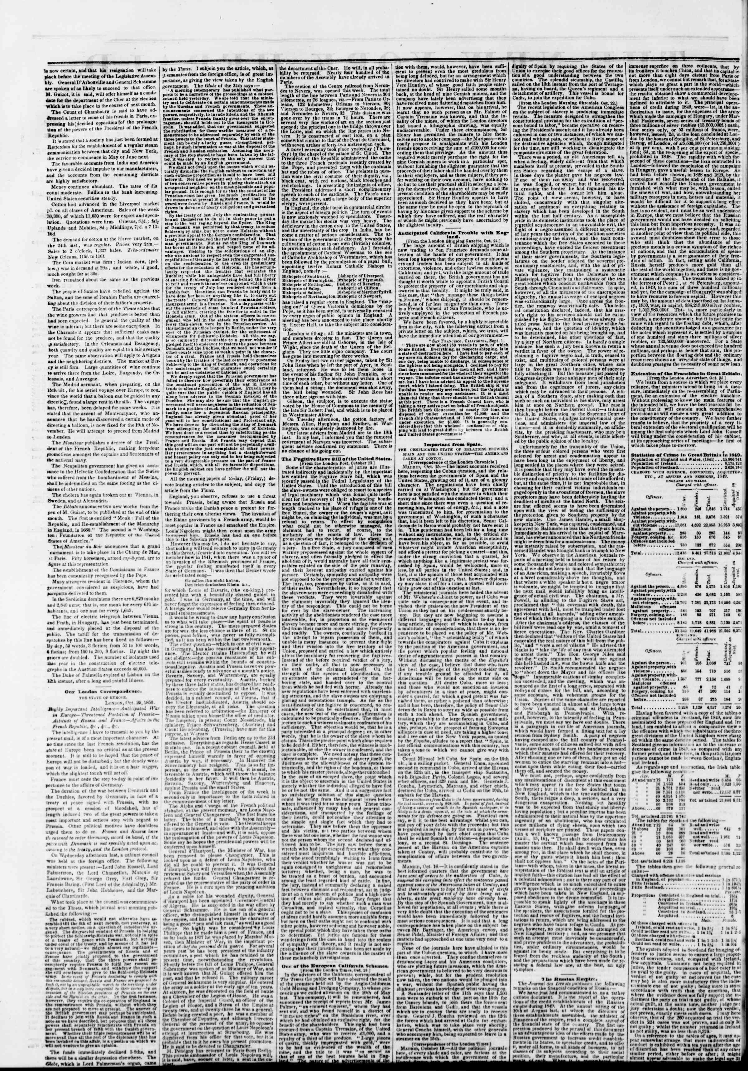 Newspaper of The New York Herald dated November 9, 1850 Page 2