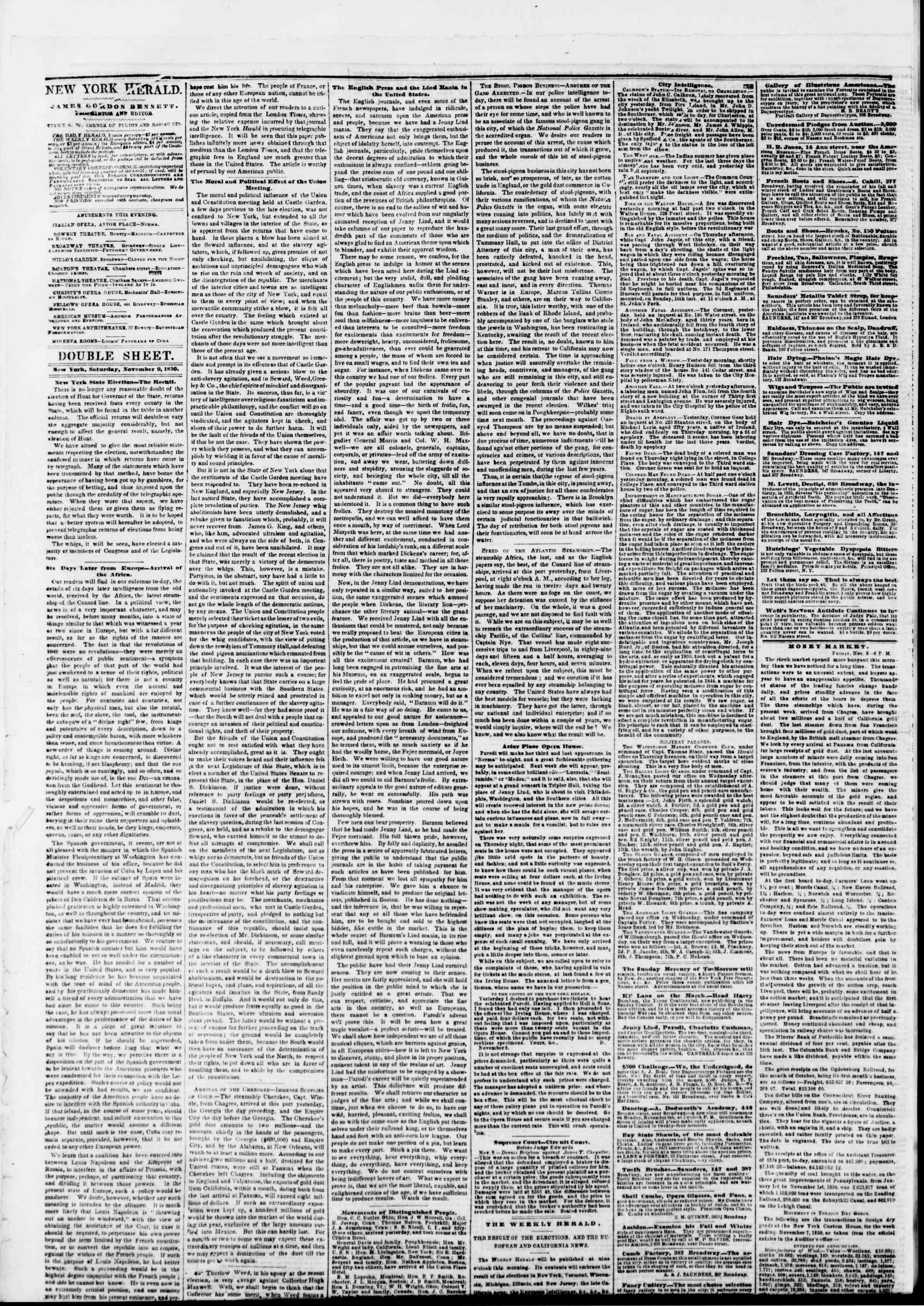 9 Kasım 1850 tarihli The New York Herald Gazetesi Sayfa 4