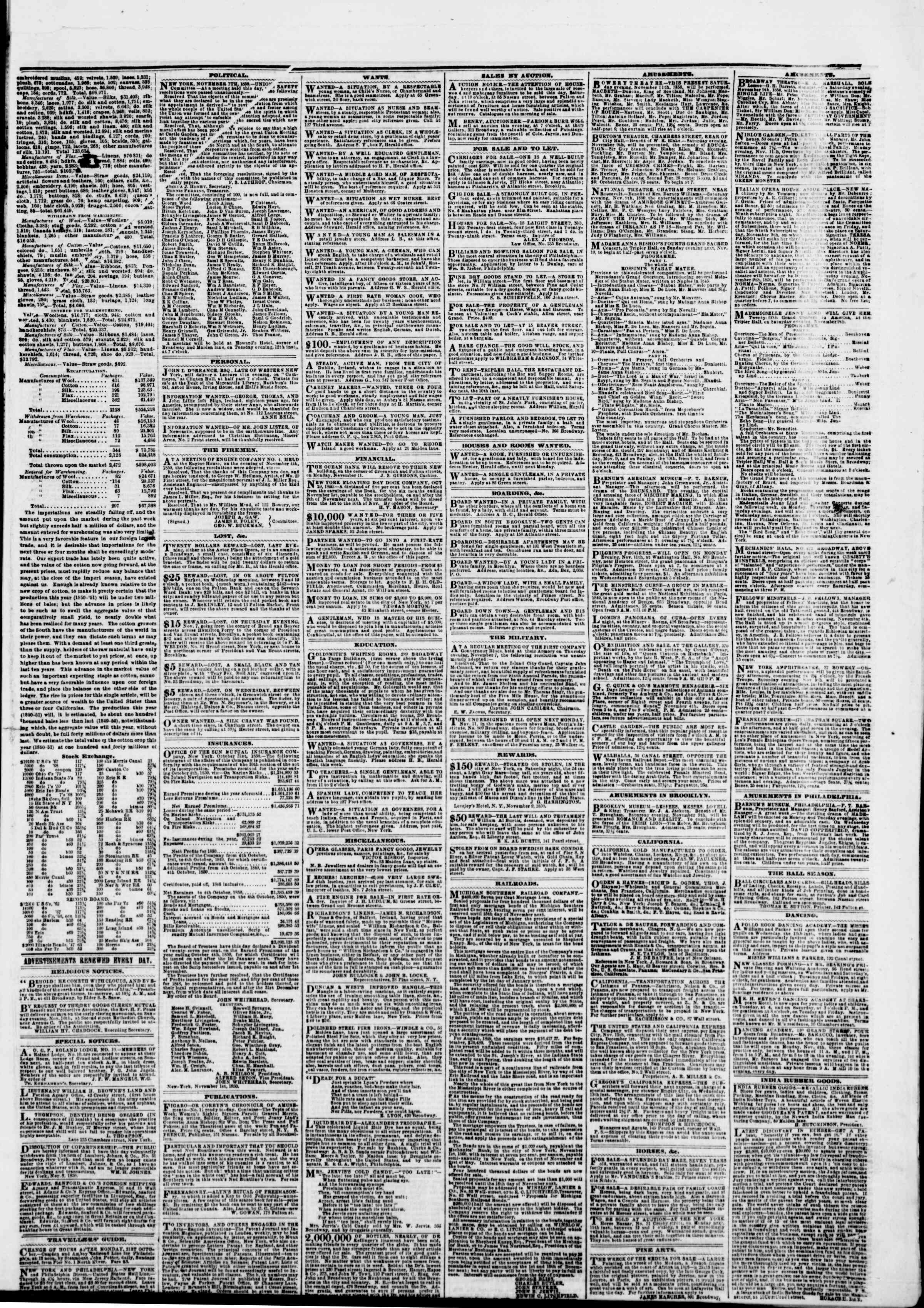 Newspaper of The New York Herald dated November 9, 1850 Page 5