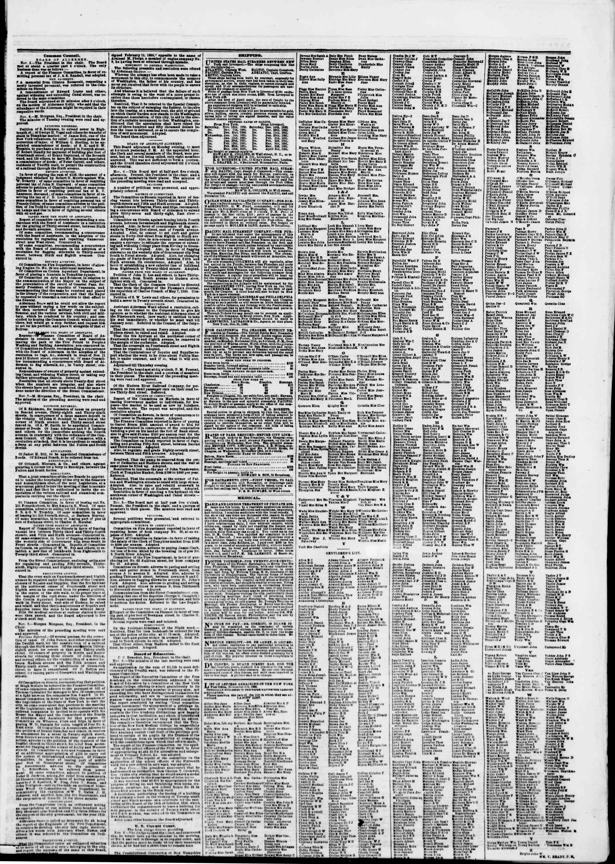 Newspaper of The New York Herald dated November 9, 1850 Page 7