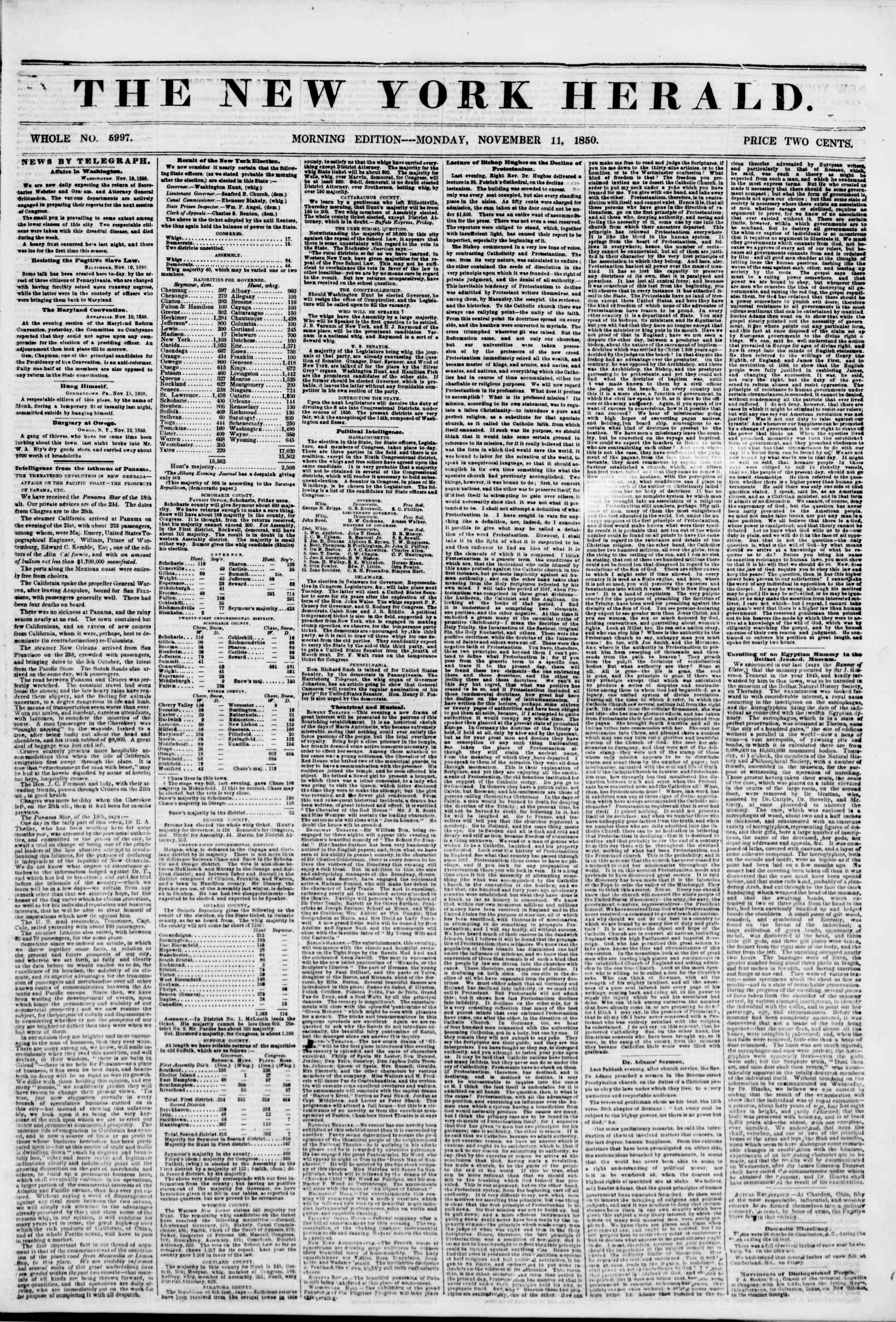 Newspaper of The New York Herald dated November 11, 1850 Page 1