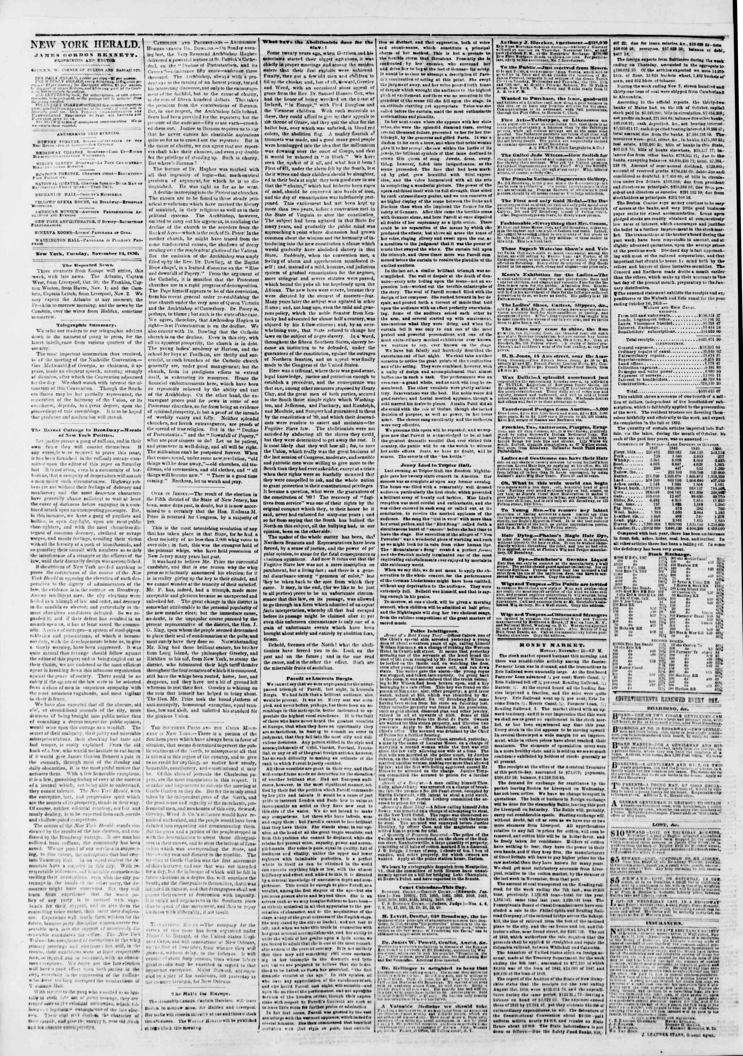 Newspaper of The New York Herald dated November 12, 1850 Page 2
