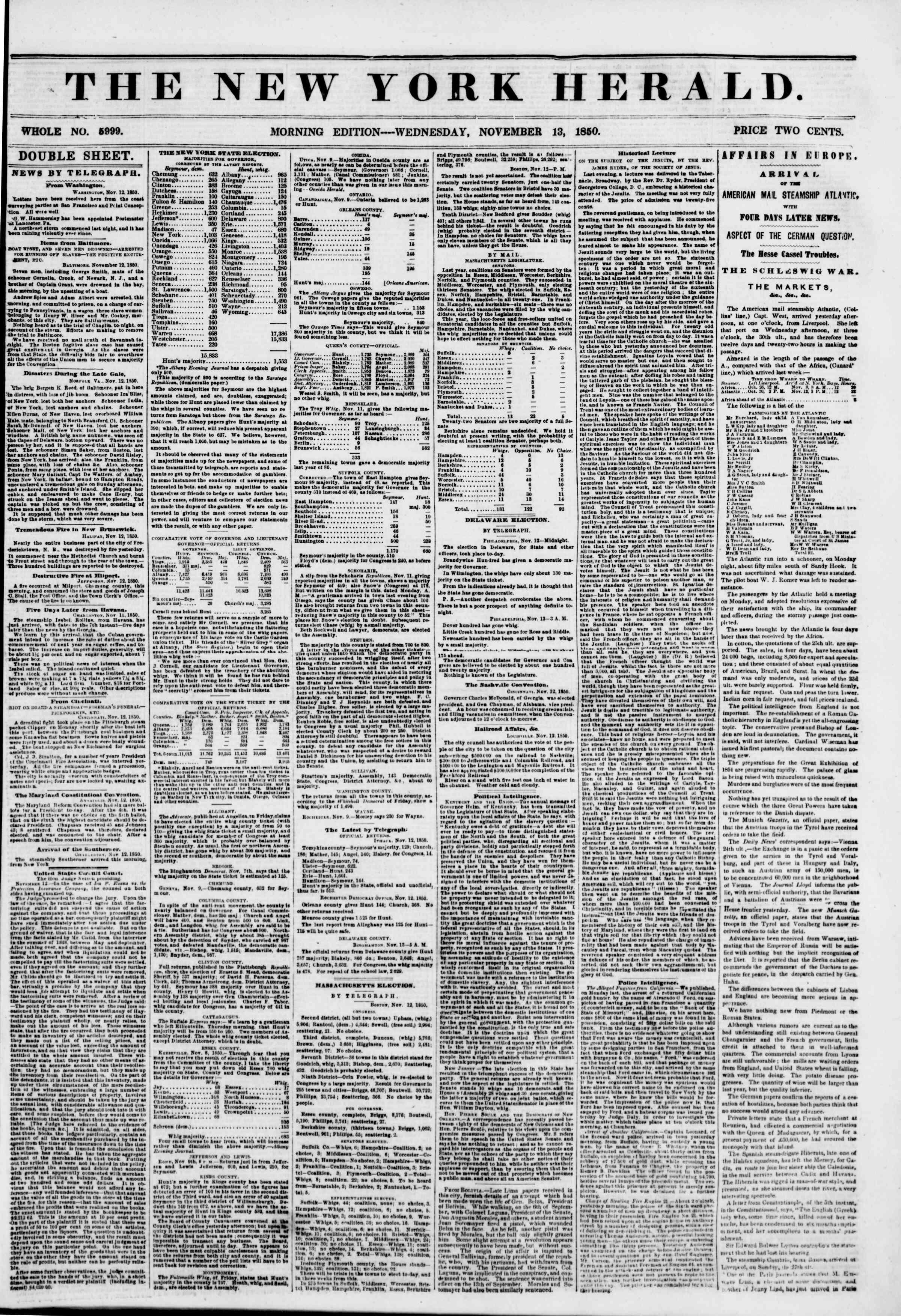 Newspaper of The New York Herald dated 13 Kasım 1850 Page 1