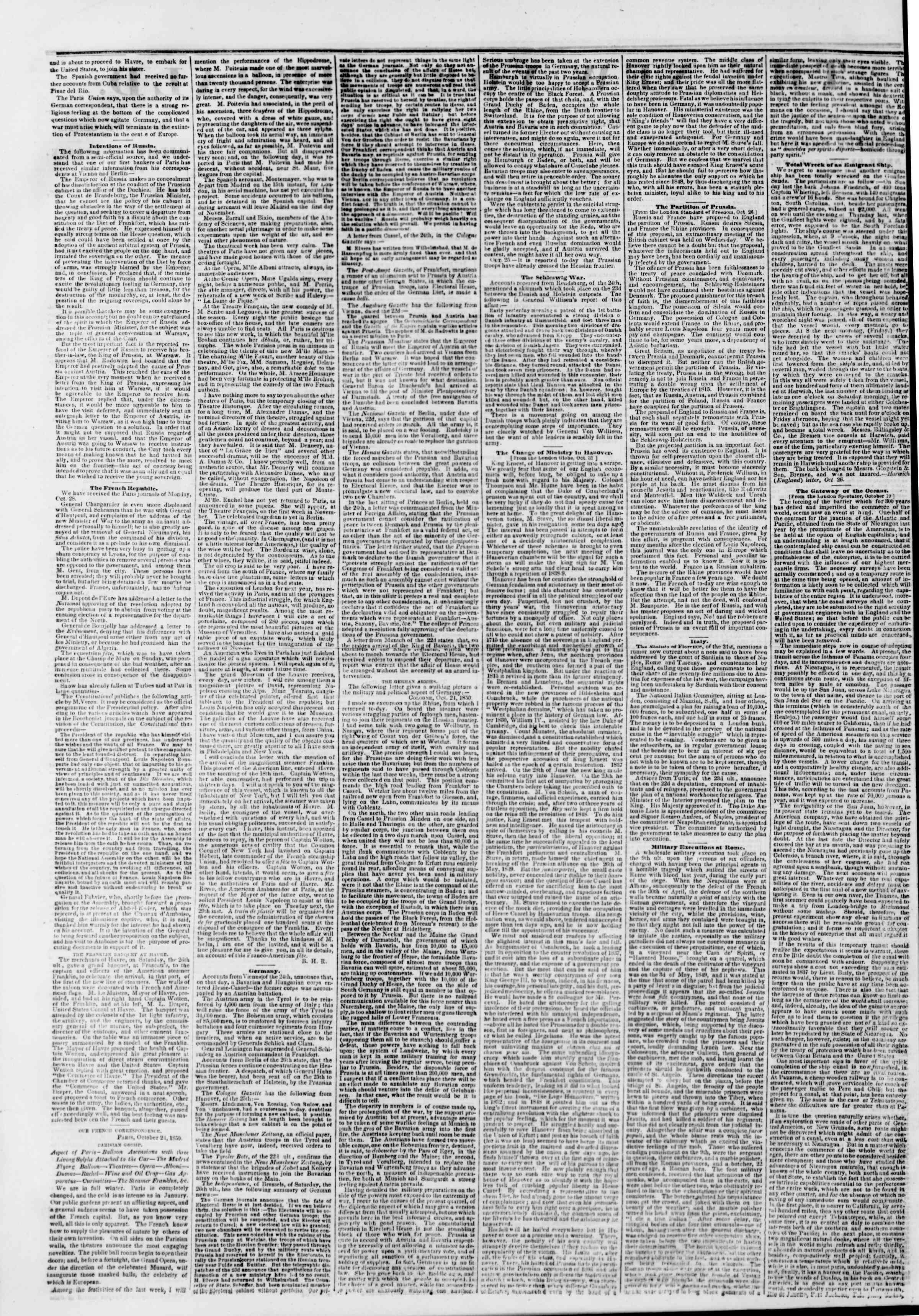 Newspaper of The New York Herald dated November 13, 1850 Page 2