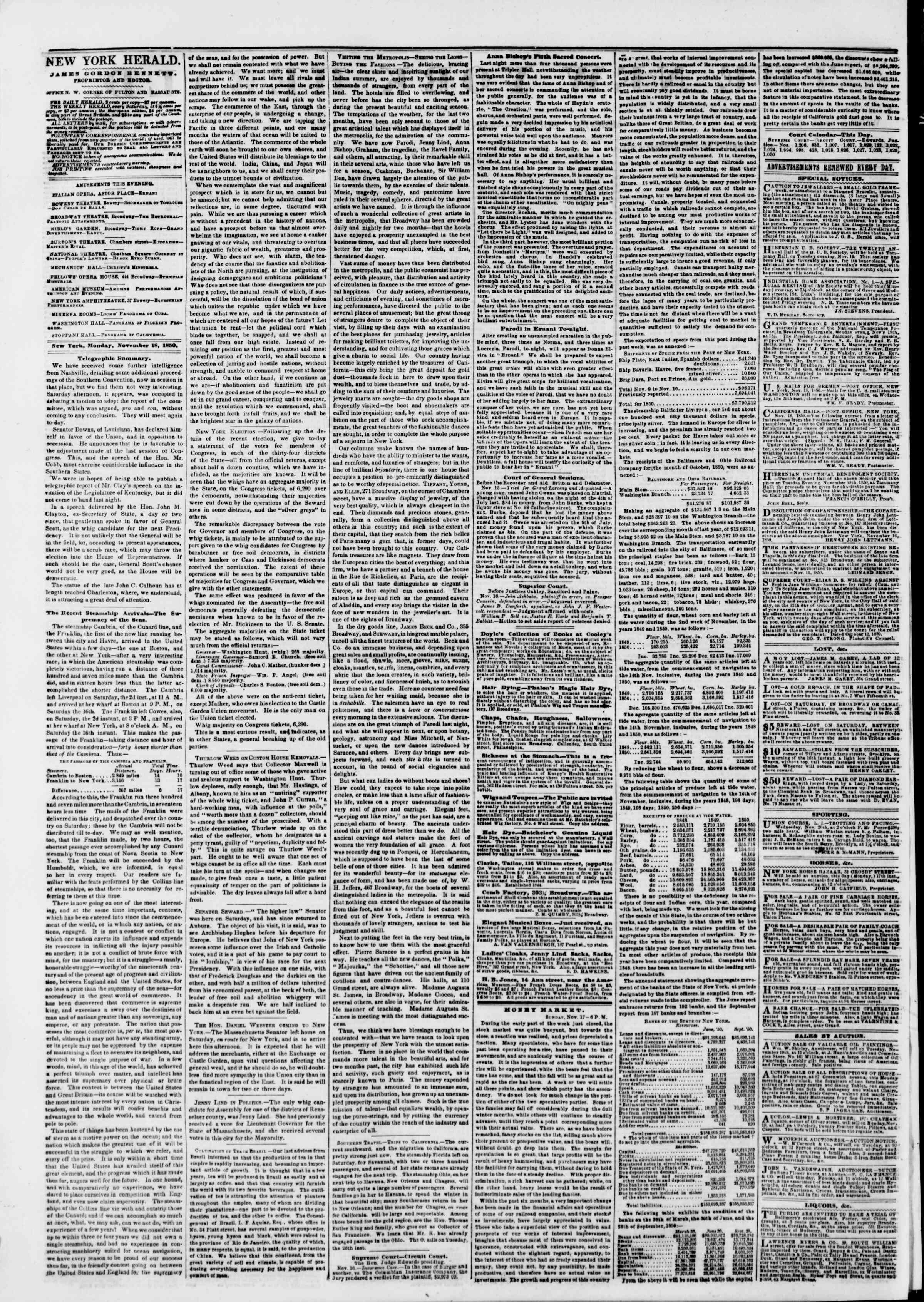 Newspaper of The New York Herald dated November 18, 1850 Page 2