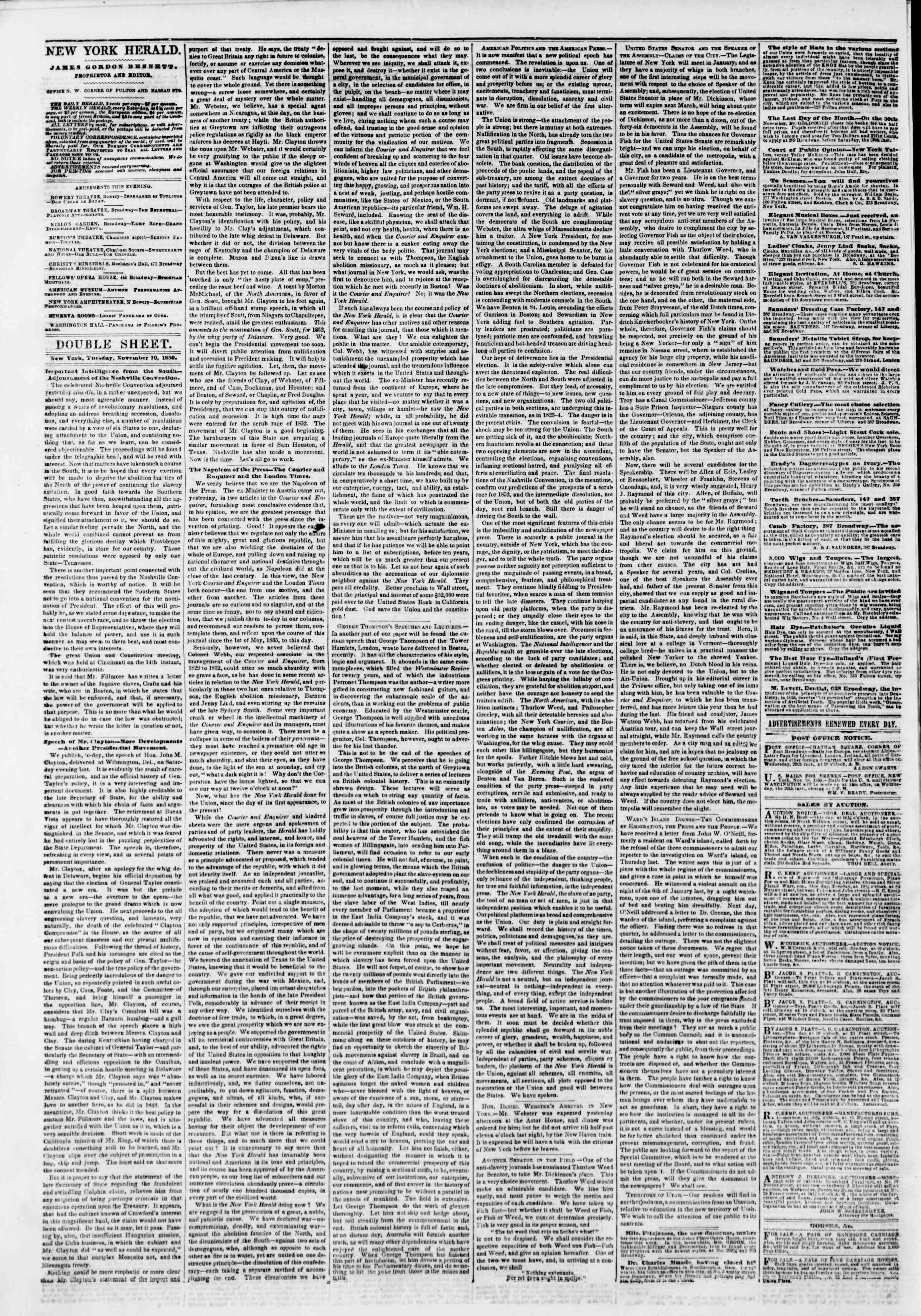 19 Kasım 1850 tarihli The New York Herald Gazetesi Sayfa 4