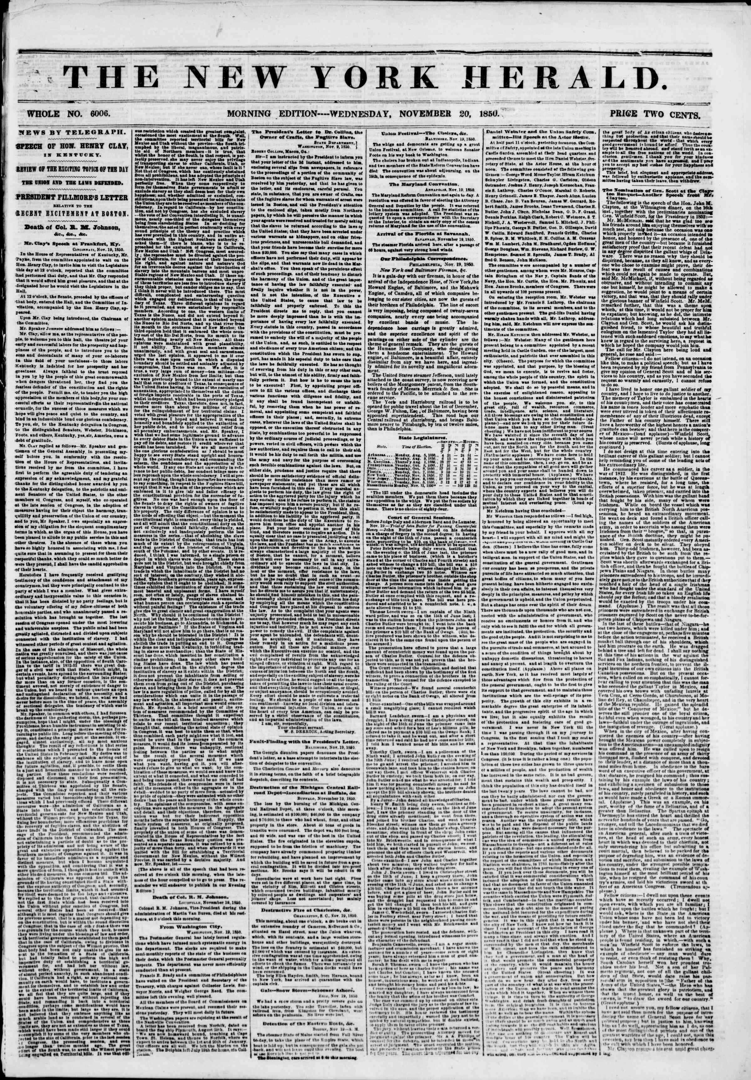 Newspaper of The New York Herald dated November 20, 1850 Page 1