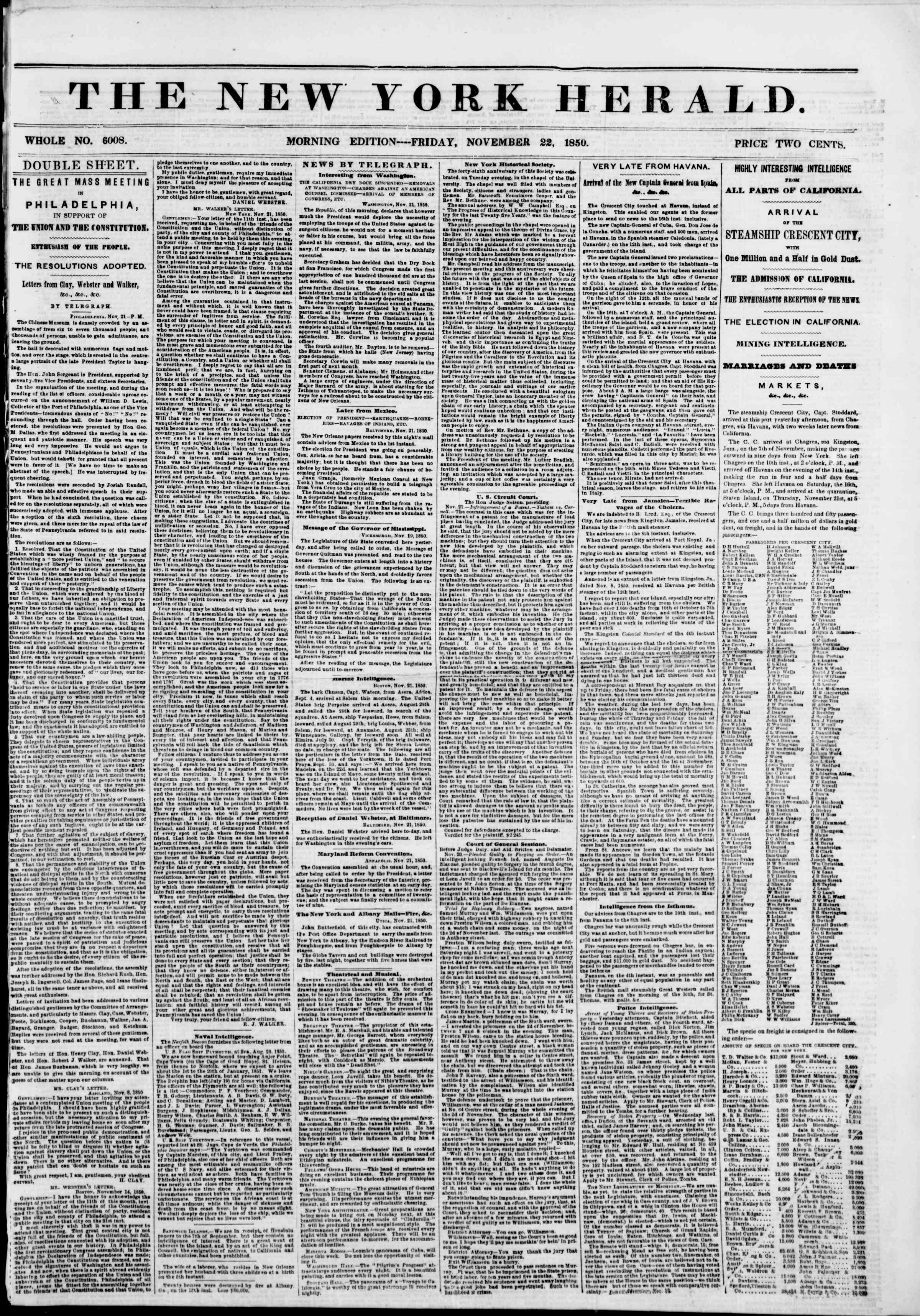 Newspaper of The New York Herald dated November 22, 1850 Page 1