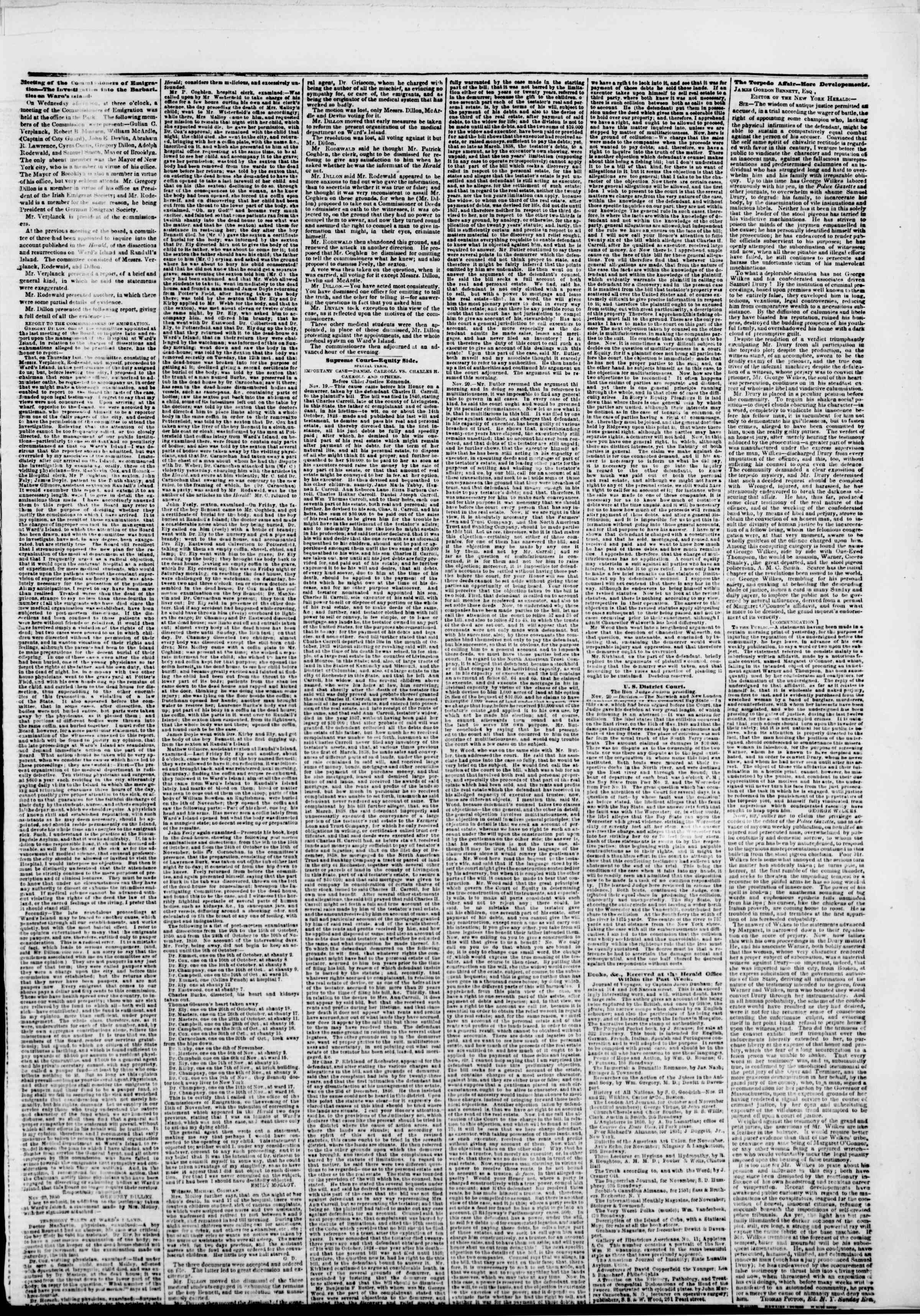 Newspaper of The New York Herald dated November 22, 1850 Page 5