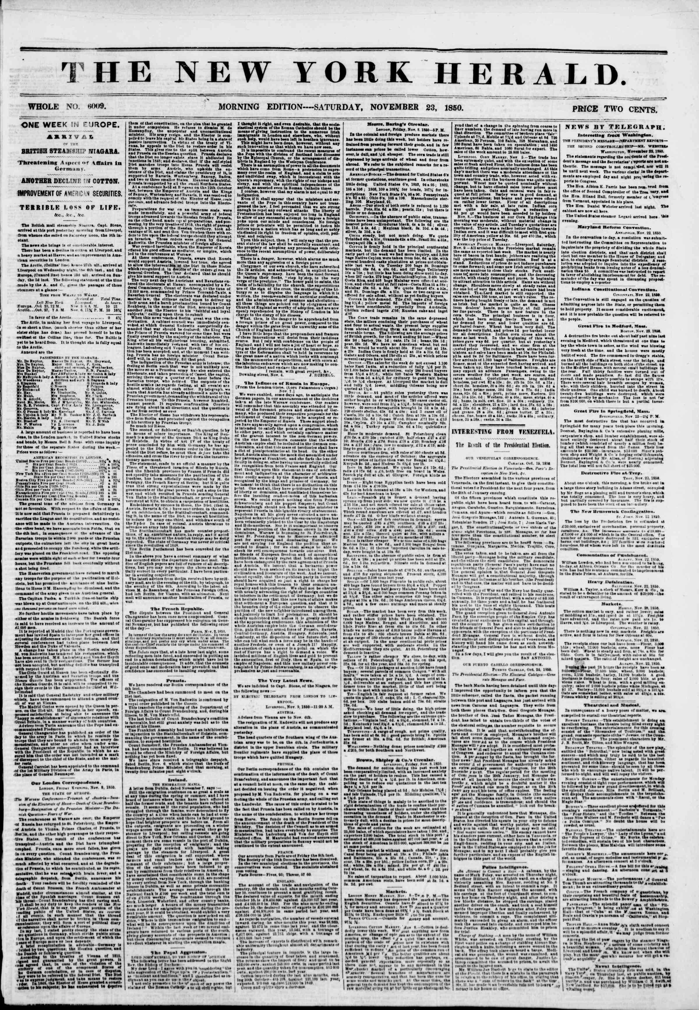 Newspaper of The New York Herald dated November 23, 1850 Page 1