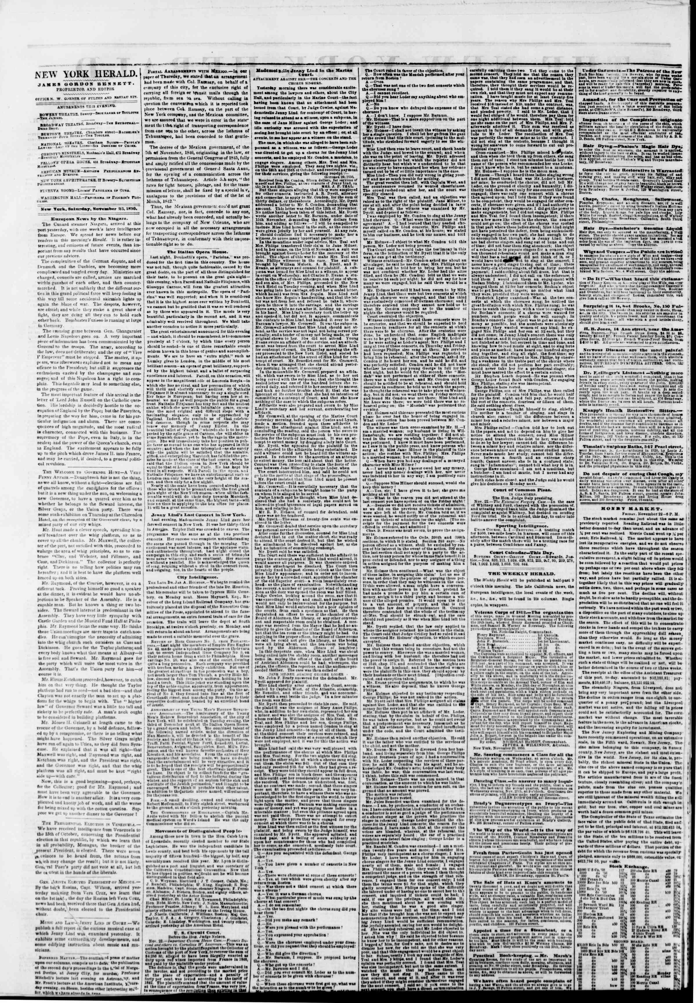 Newspaper of The New York Herald dated November 23, 1850 Page 2