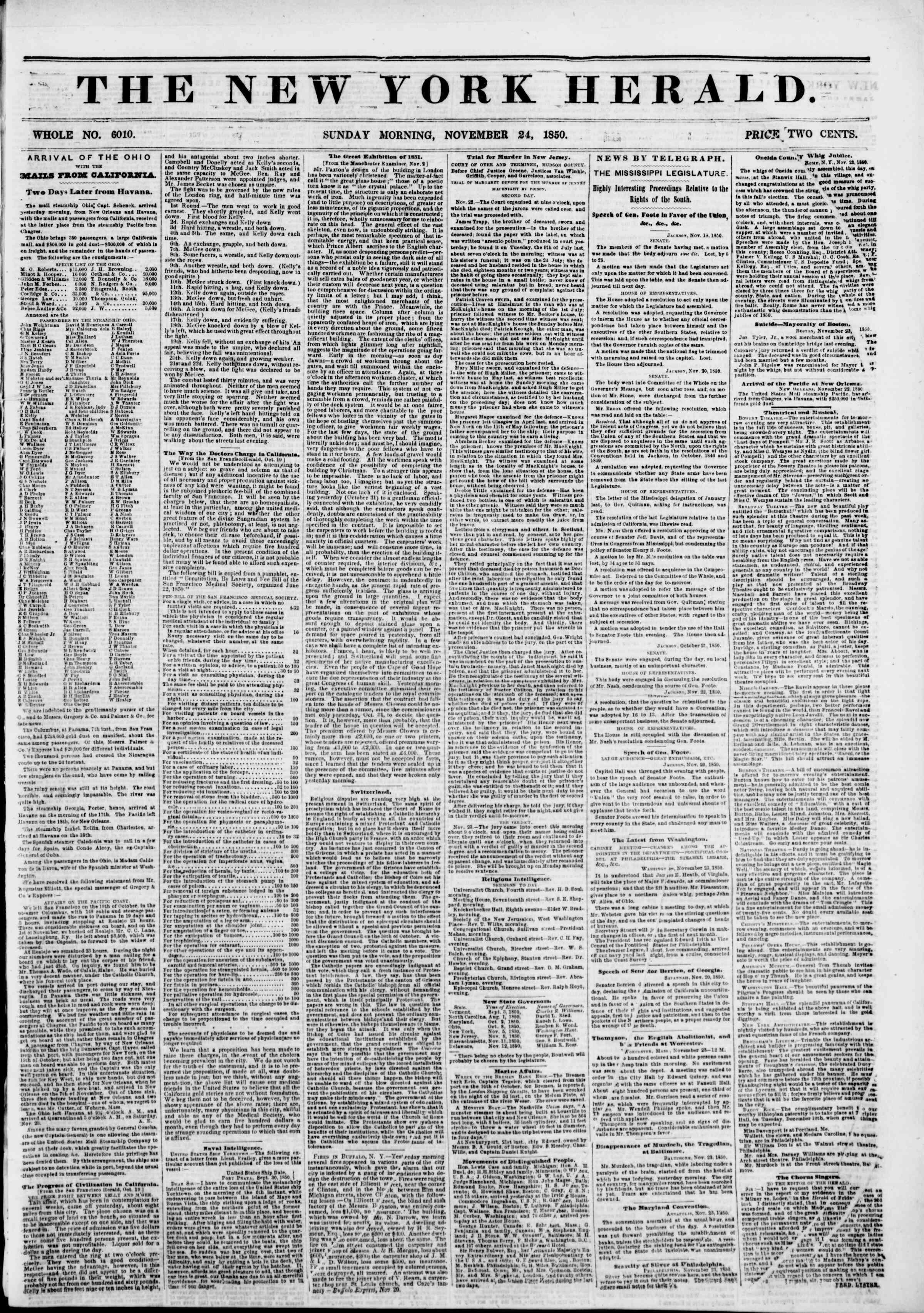 24 Kasım 1850 tarihli The New York Herald Gazetesi Sayfa 1
