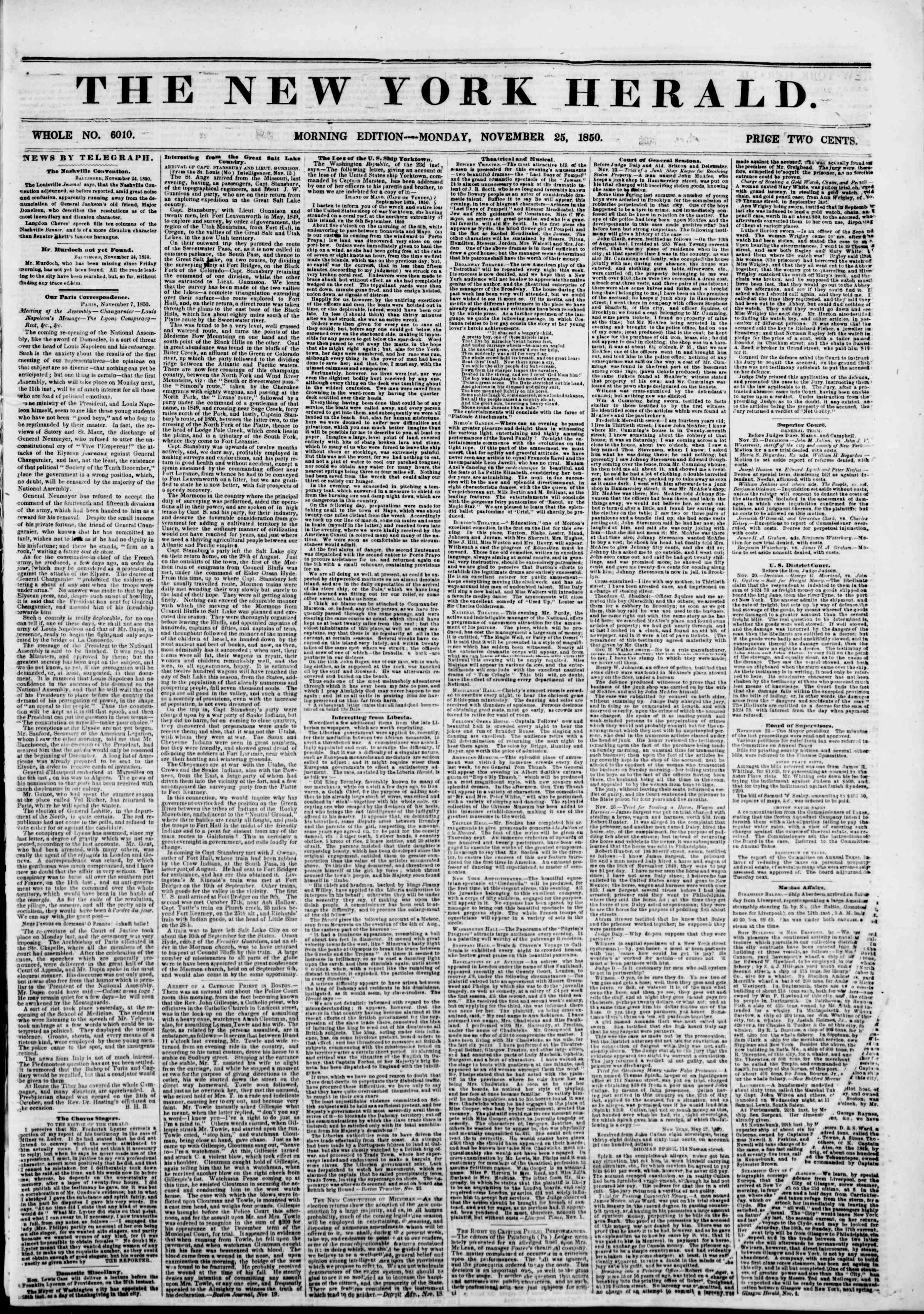 Newspaper of The New York Herald dated November 25, 1850 Page 1