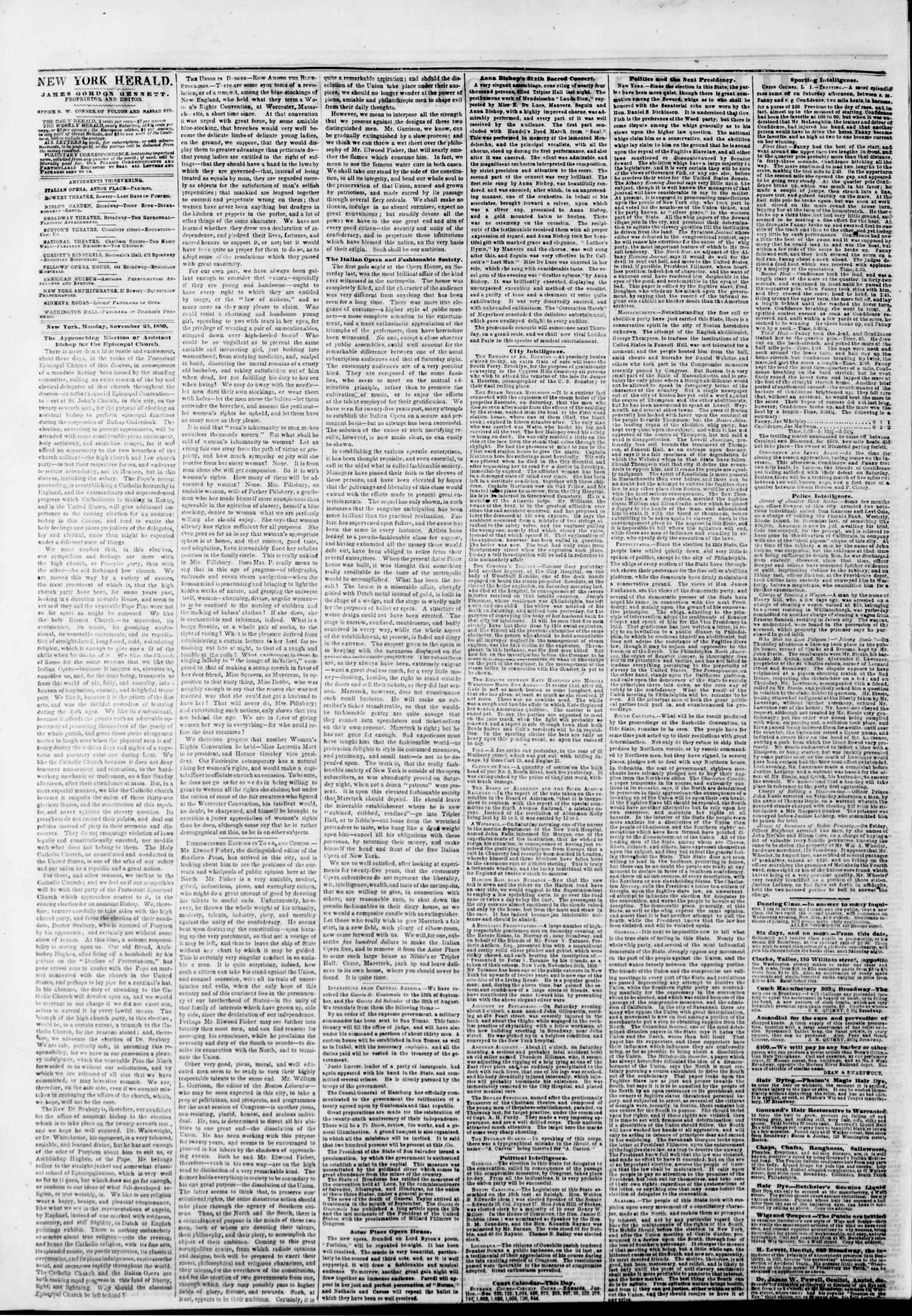 Newspaper of The New York Herald dated November 25, 1850 Page 2