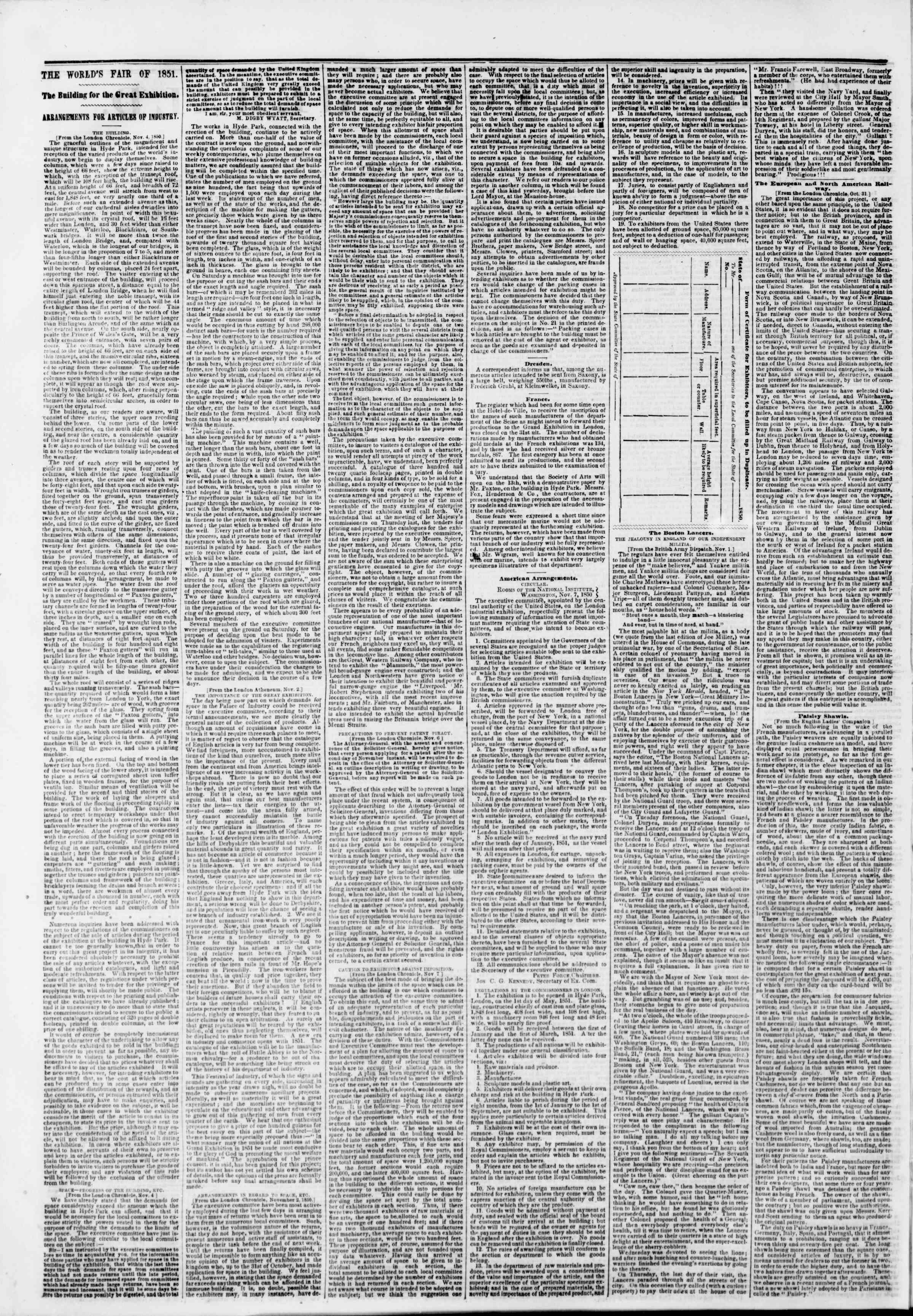 Newspaper of The New York Herald dated November 26, 1850 Page 2