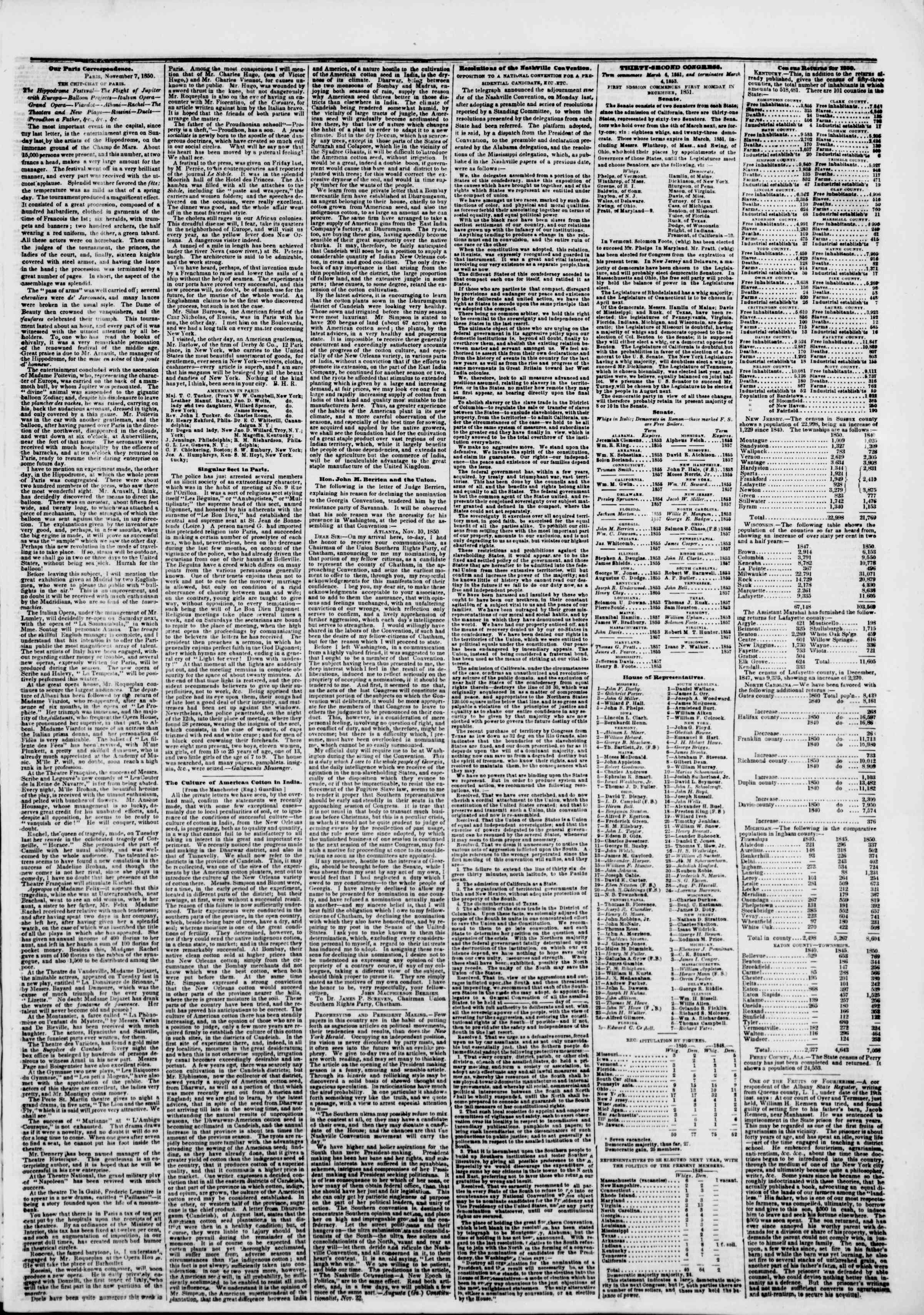 Newspaper of The New York Herald dated November 26, 1850 Page 3
