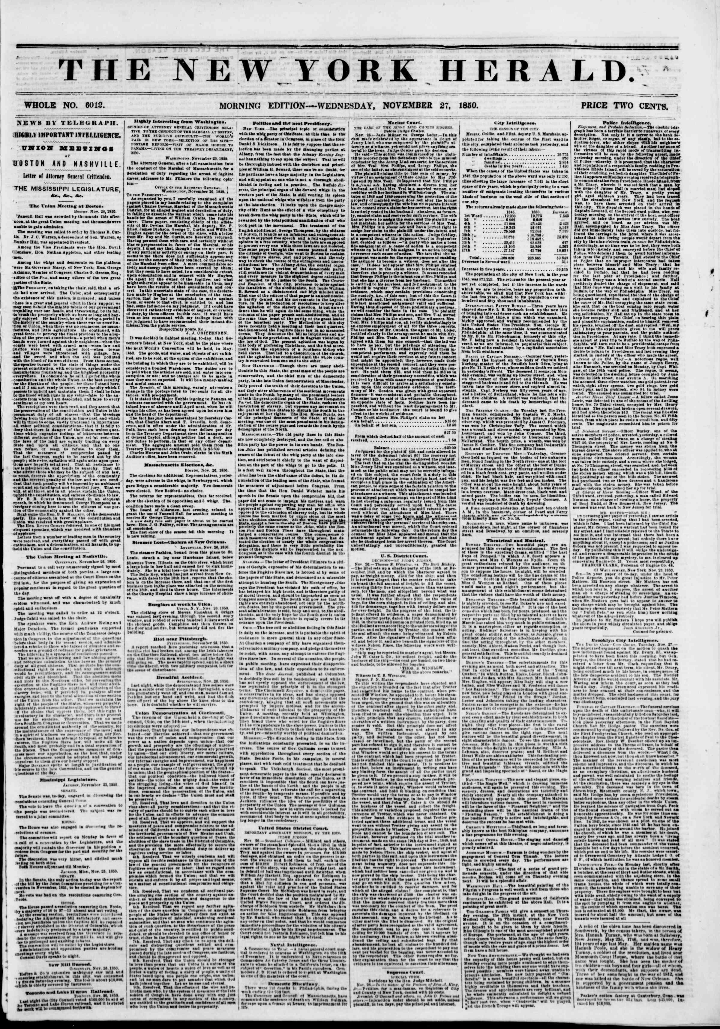 Newspaper of The New York Herald dated November 27, 1850 Page 1