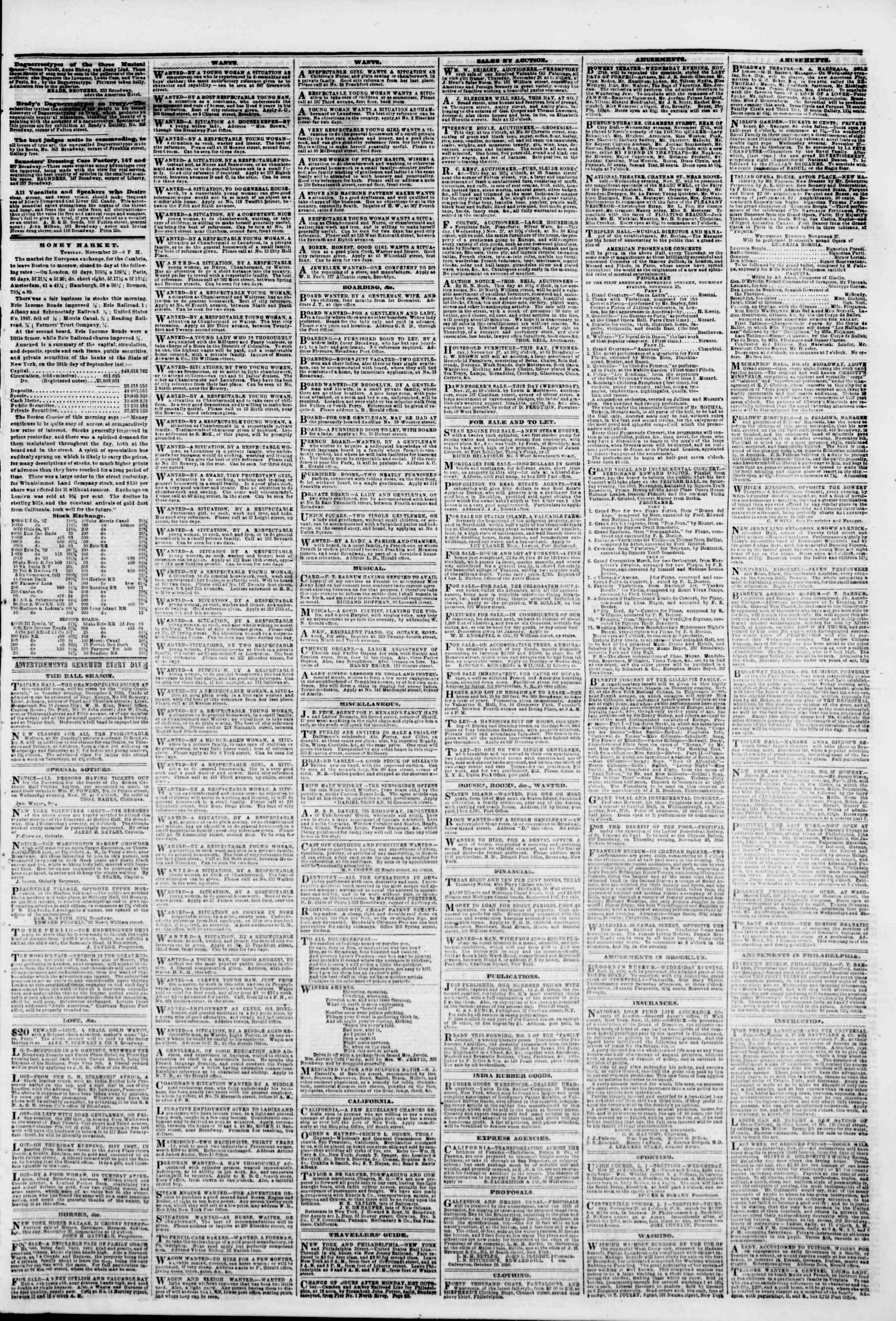 Newspaper of The New York Herald dated November 27, 1850 Page 3