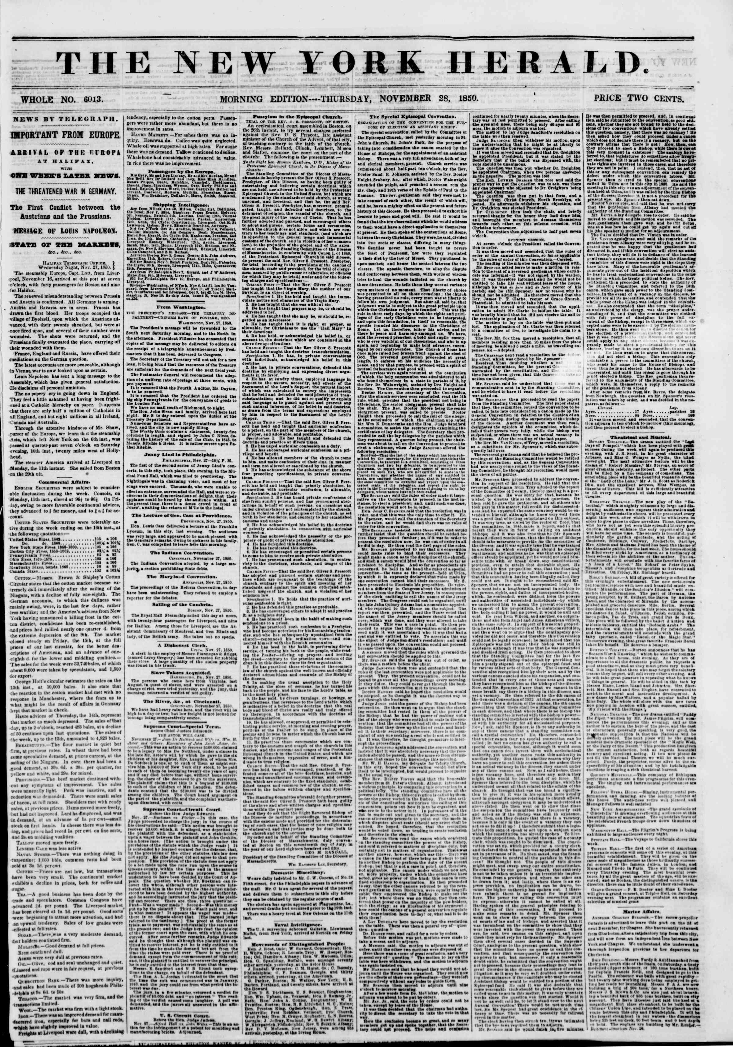 Newspaper of The New York Herald dated November 28, 1850 Page 1