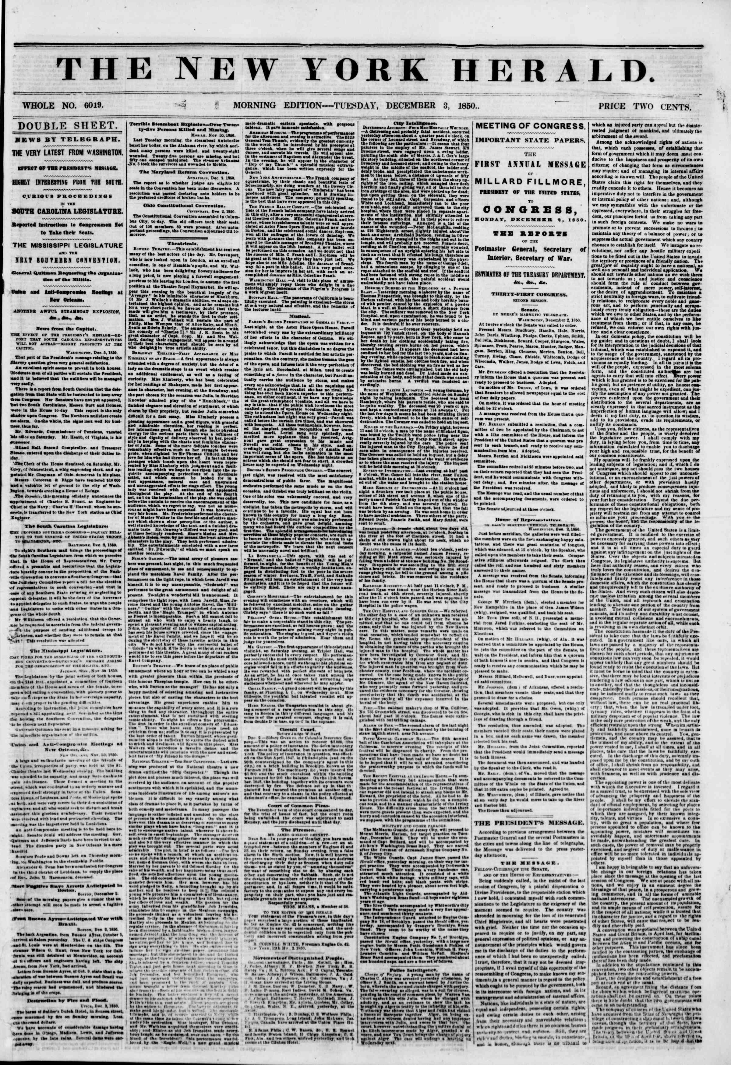 Newspaper of The New York Herald dated December 3, 1850 Page 1