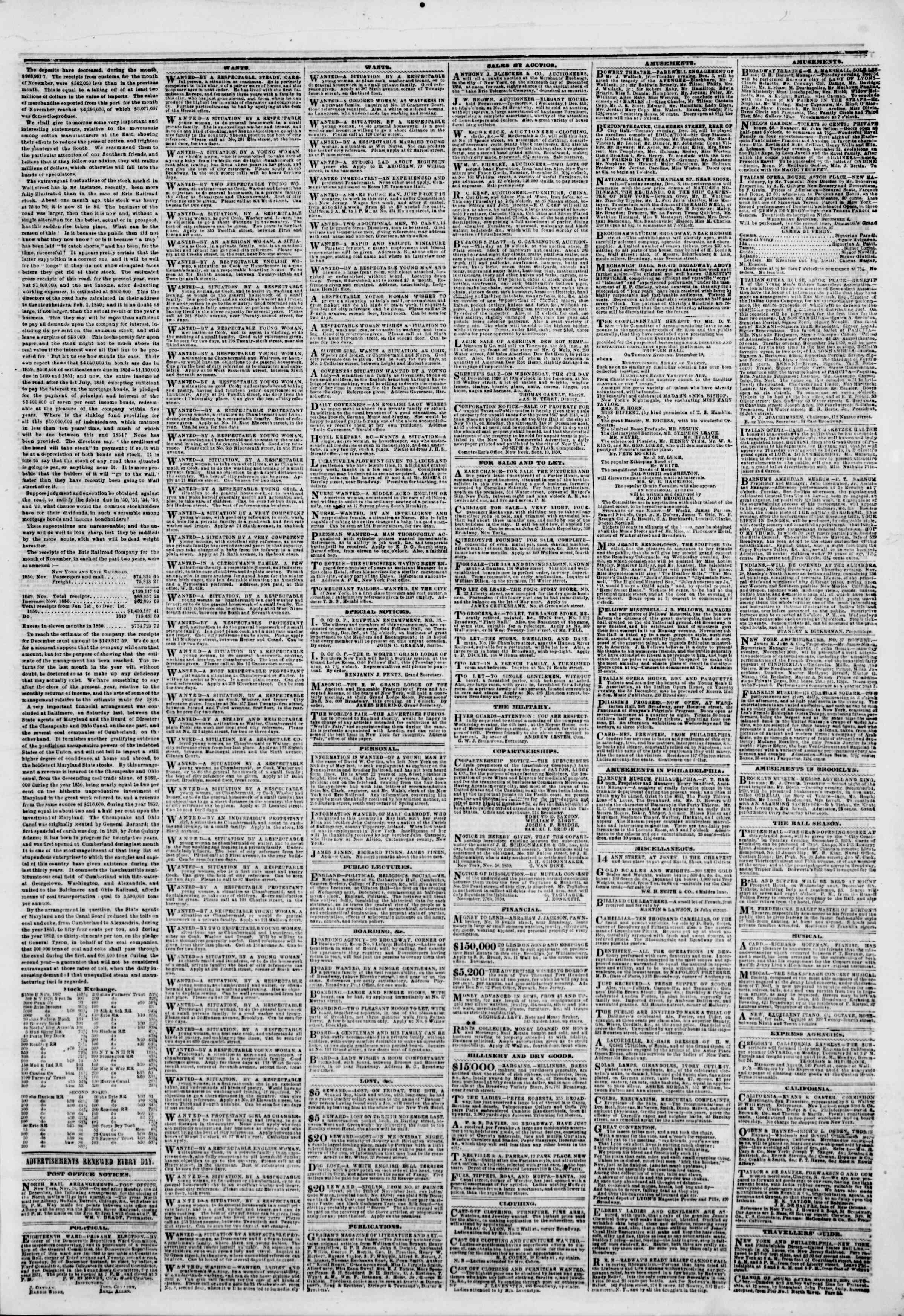 Newspaper of The New York Herald dated December 3, 1850 Page 5