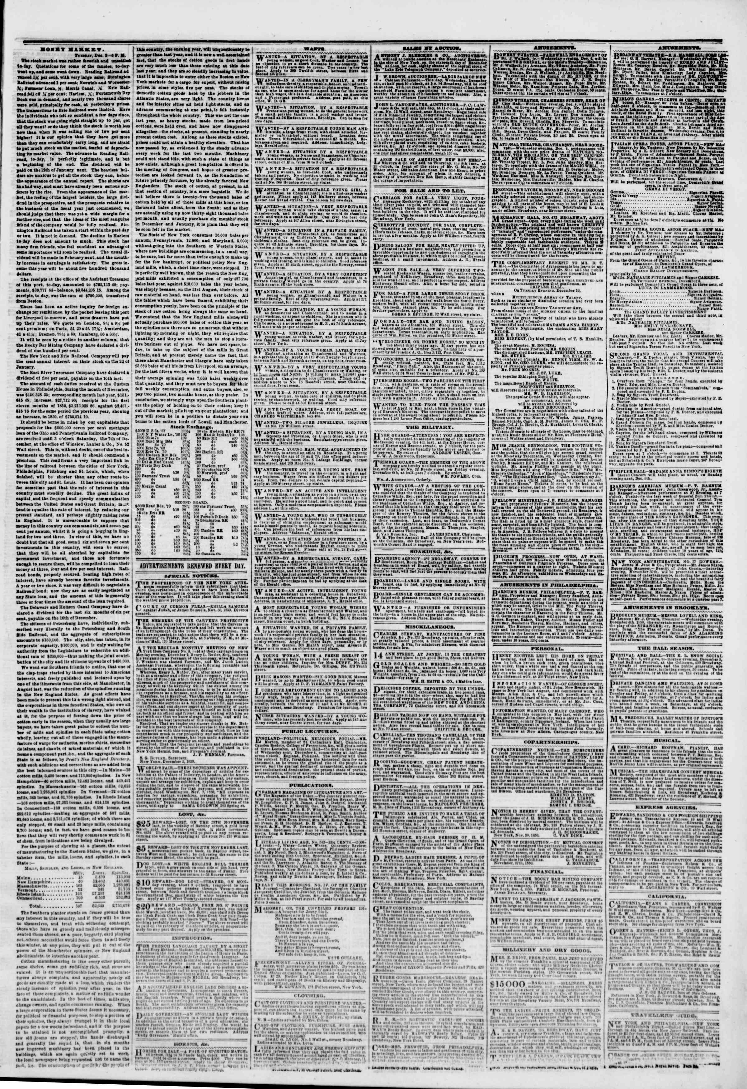 Newspaper of The New York Herald dated December 4, 1850 Page 3