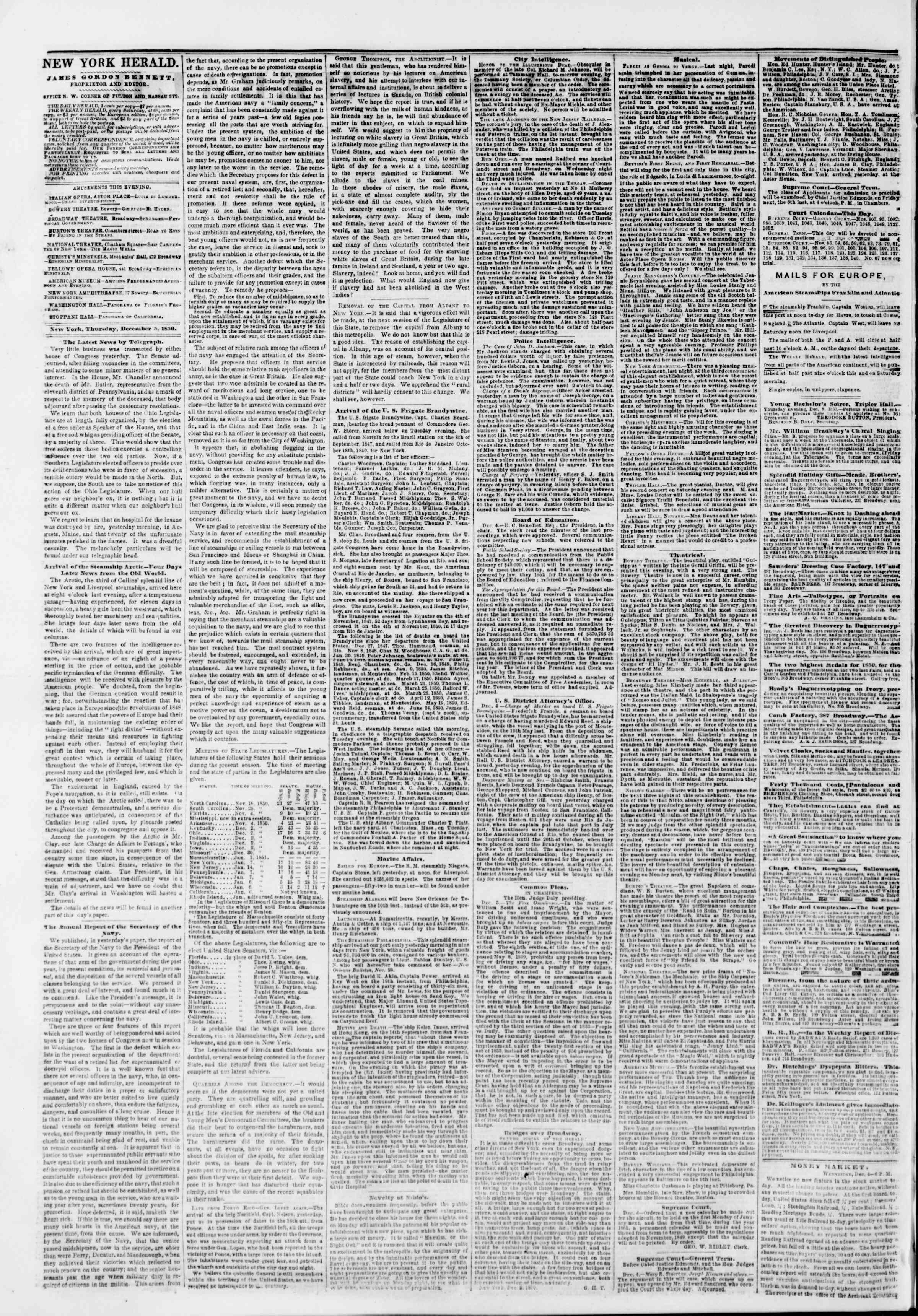 Newspaper of The New York Herald dated December 5, 1850 Page 2