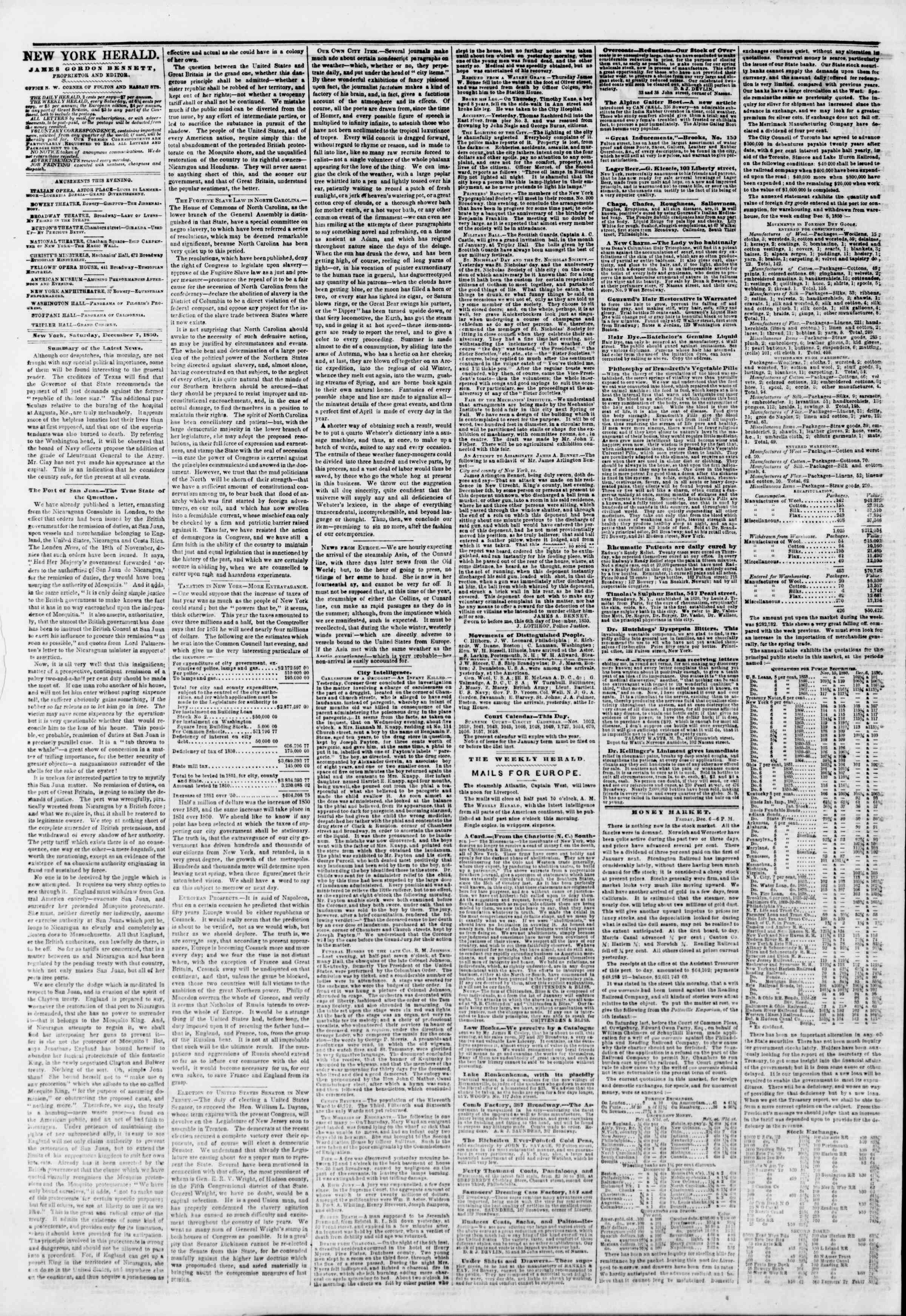 Newspaper of The New York Herald dated December 7, 1850 Page 2