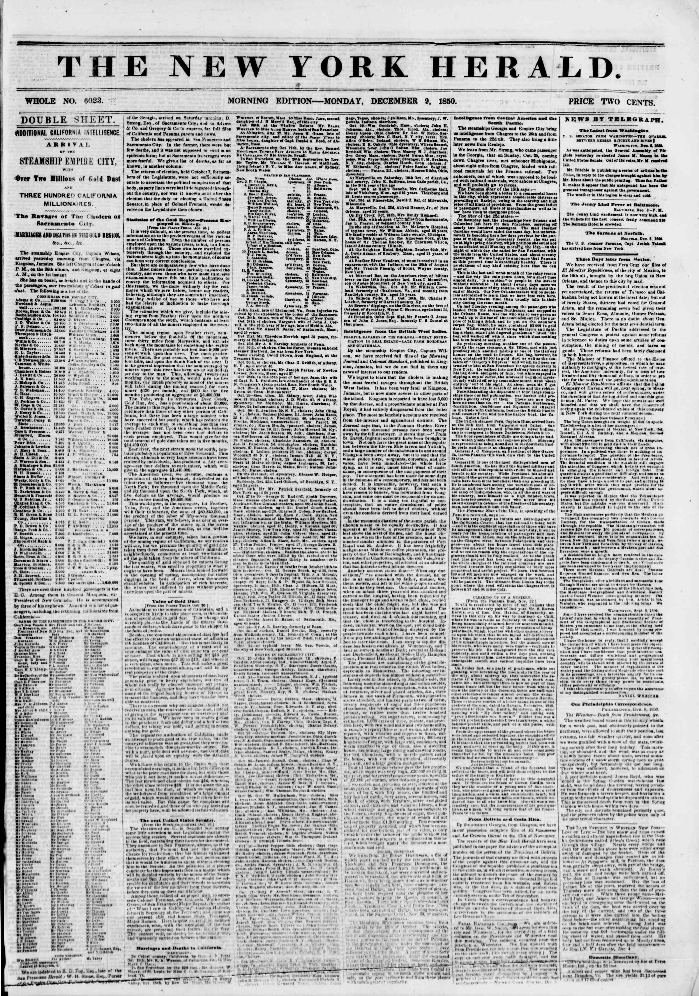 Newspaper of The New York Herald dated December 9, 1850 Page 1