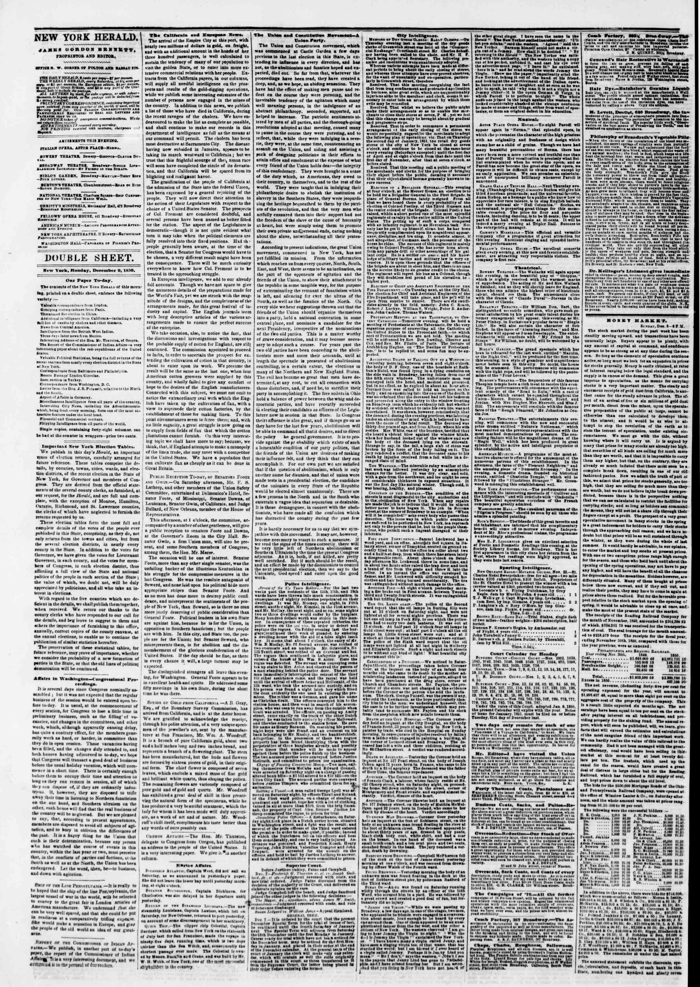 Newspaper of The New York Herald dated December 9, 1850 Page 4