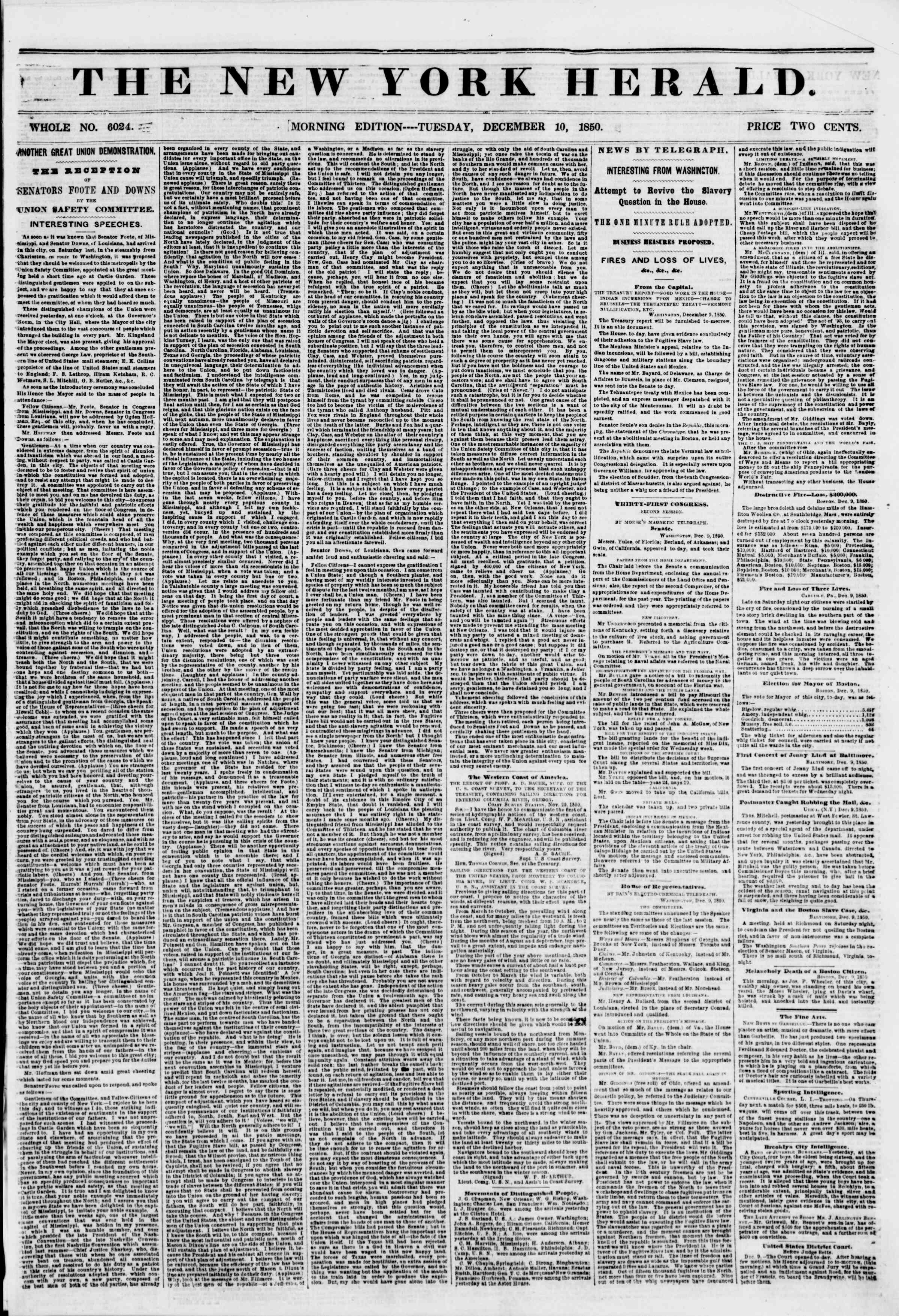 Newspaper of The New York Herald dated December 10, 1850 Page 1
