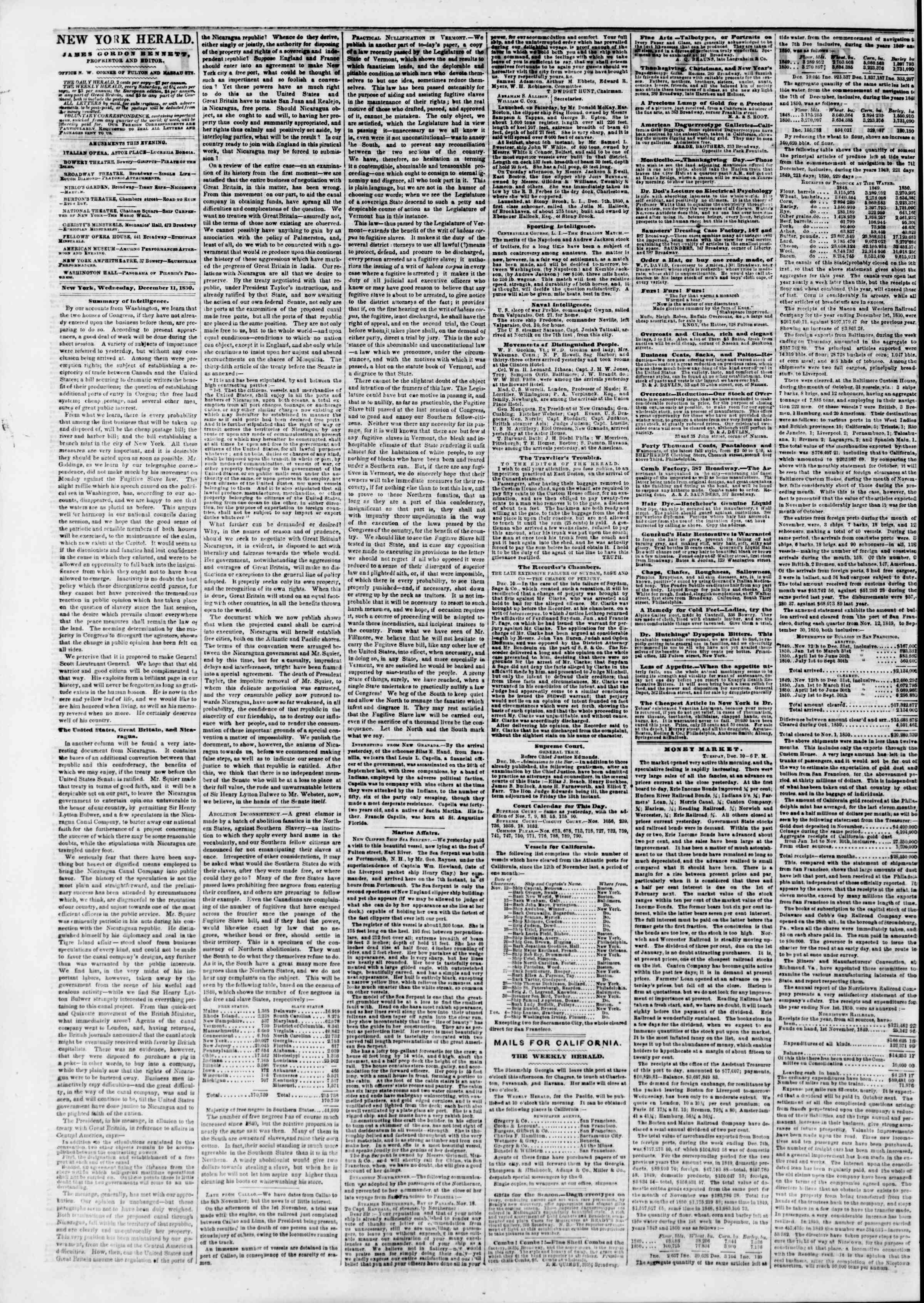 Newspaper of The New York Herald dated December 11, 1850 Page 2