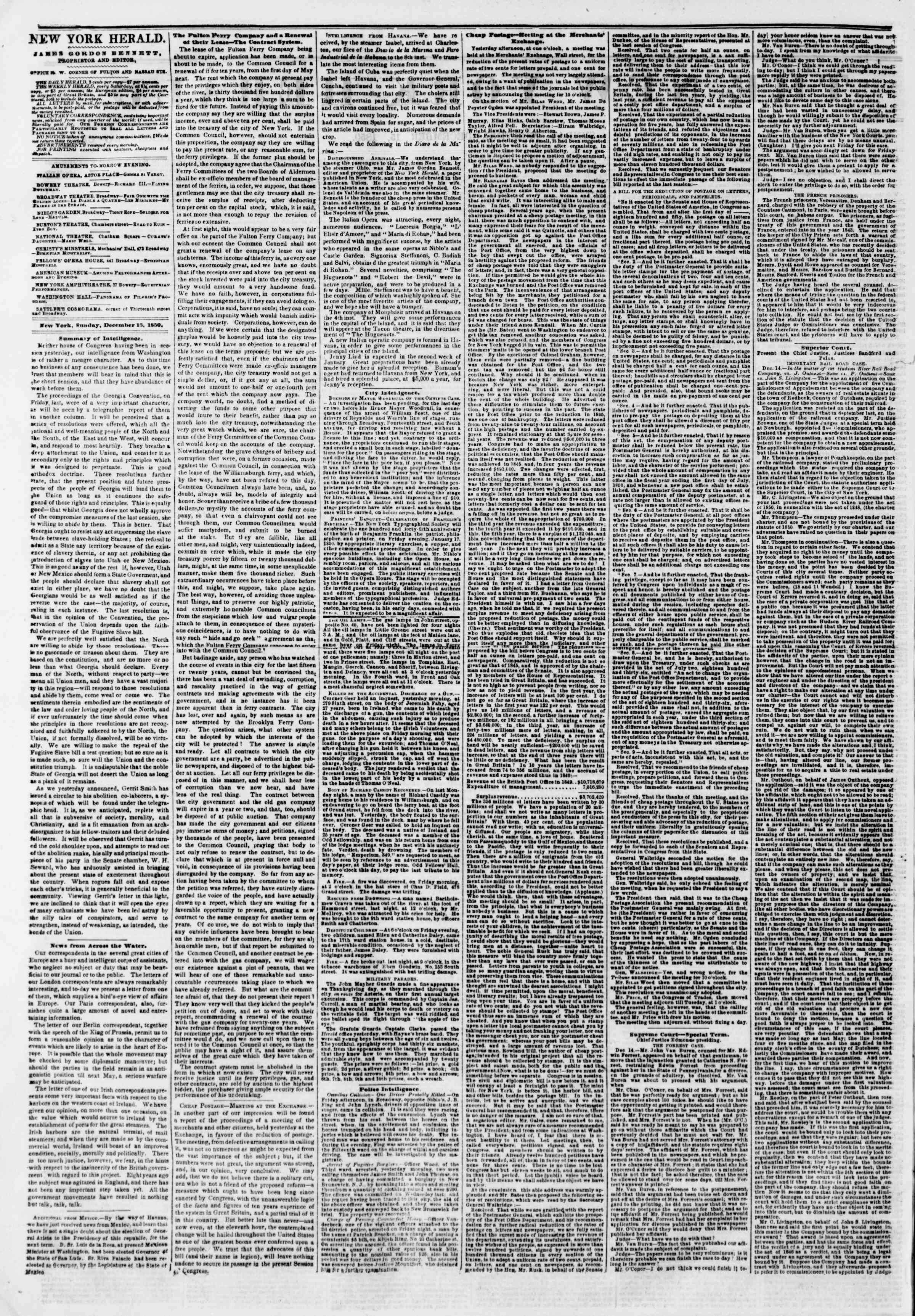 Newspaper of The New York Herald dated December 15, 1850 Page 2
