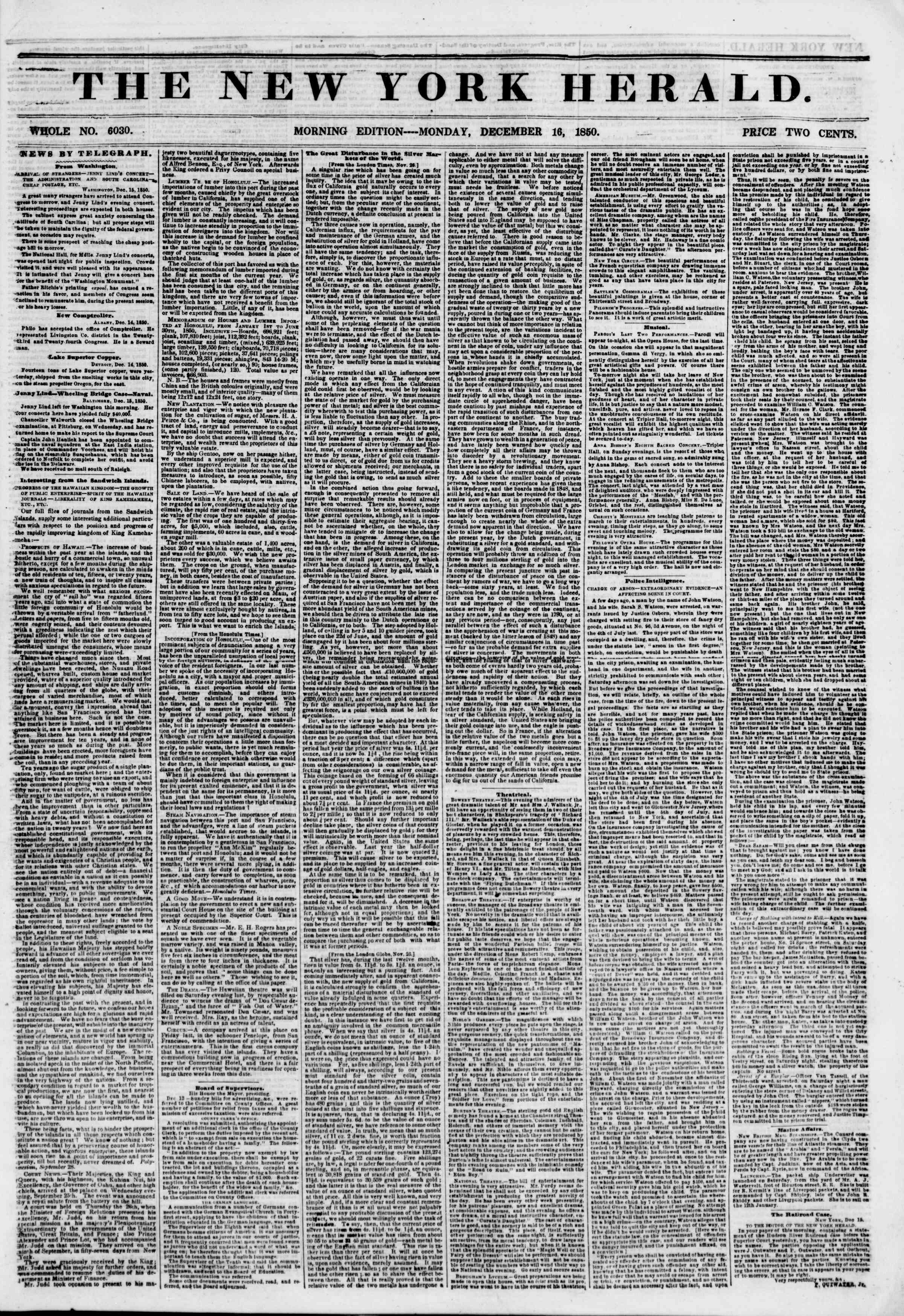Newspaper of The New York Herald dated December 16, 1850 Page 1