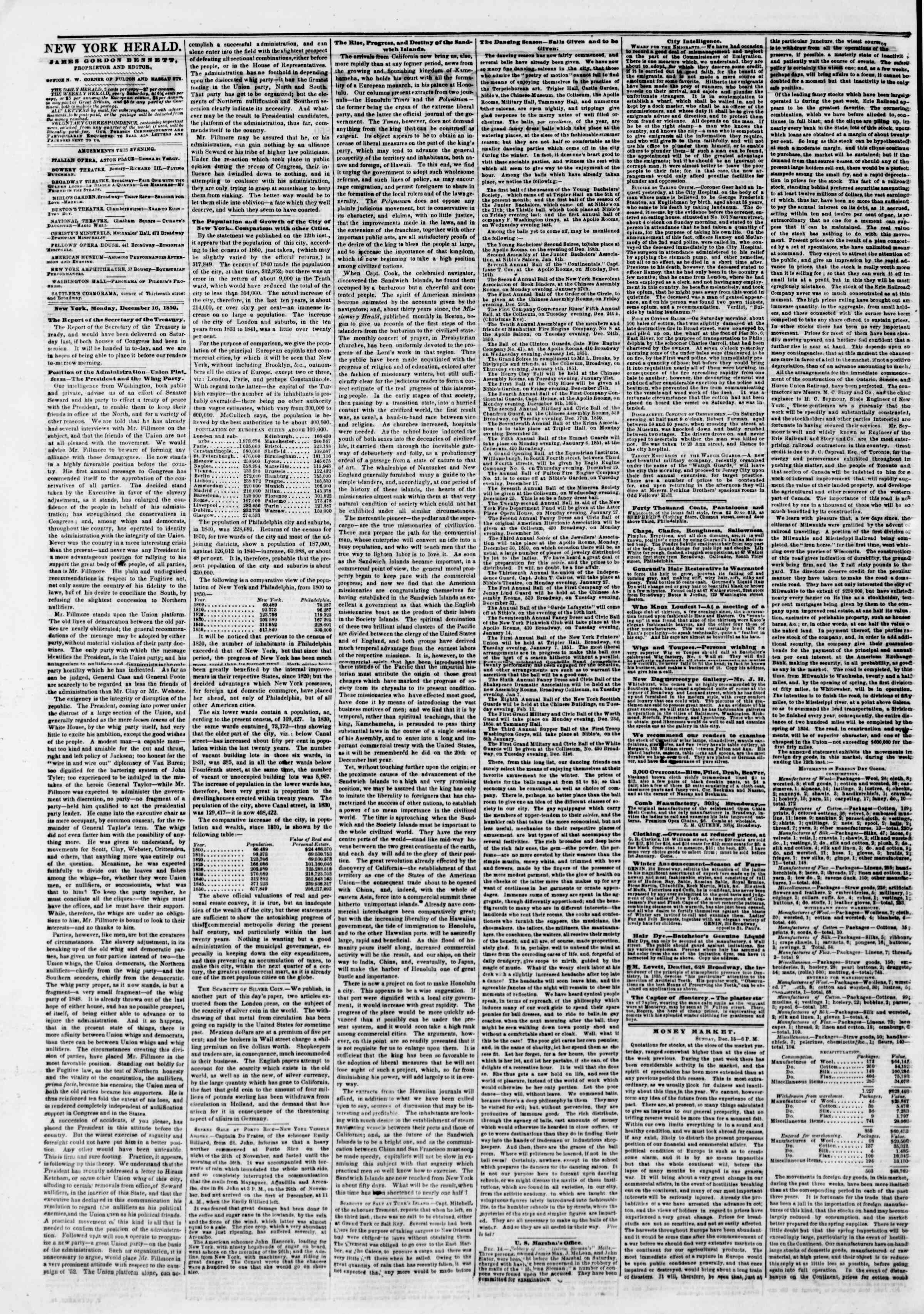 Newspaper of The New York Herald dated December 16, 1850 Page 2