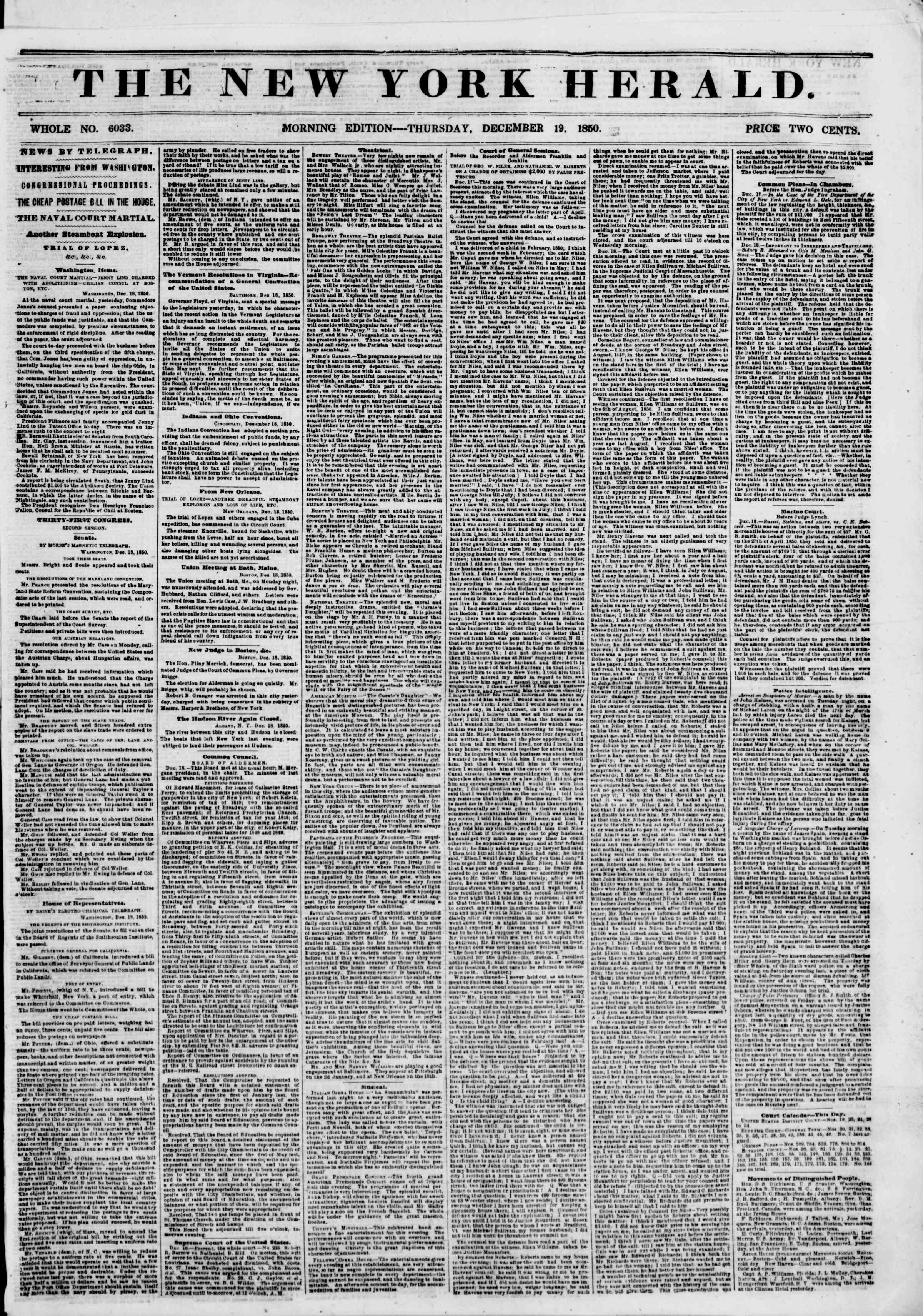 Newspaper of The New York Herald dated December 19, 1850 Page 1