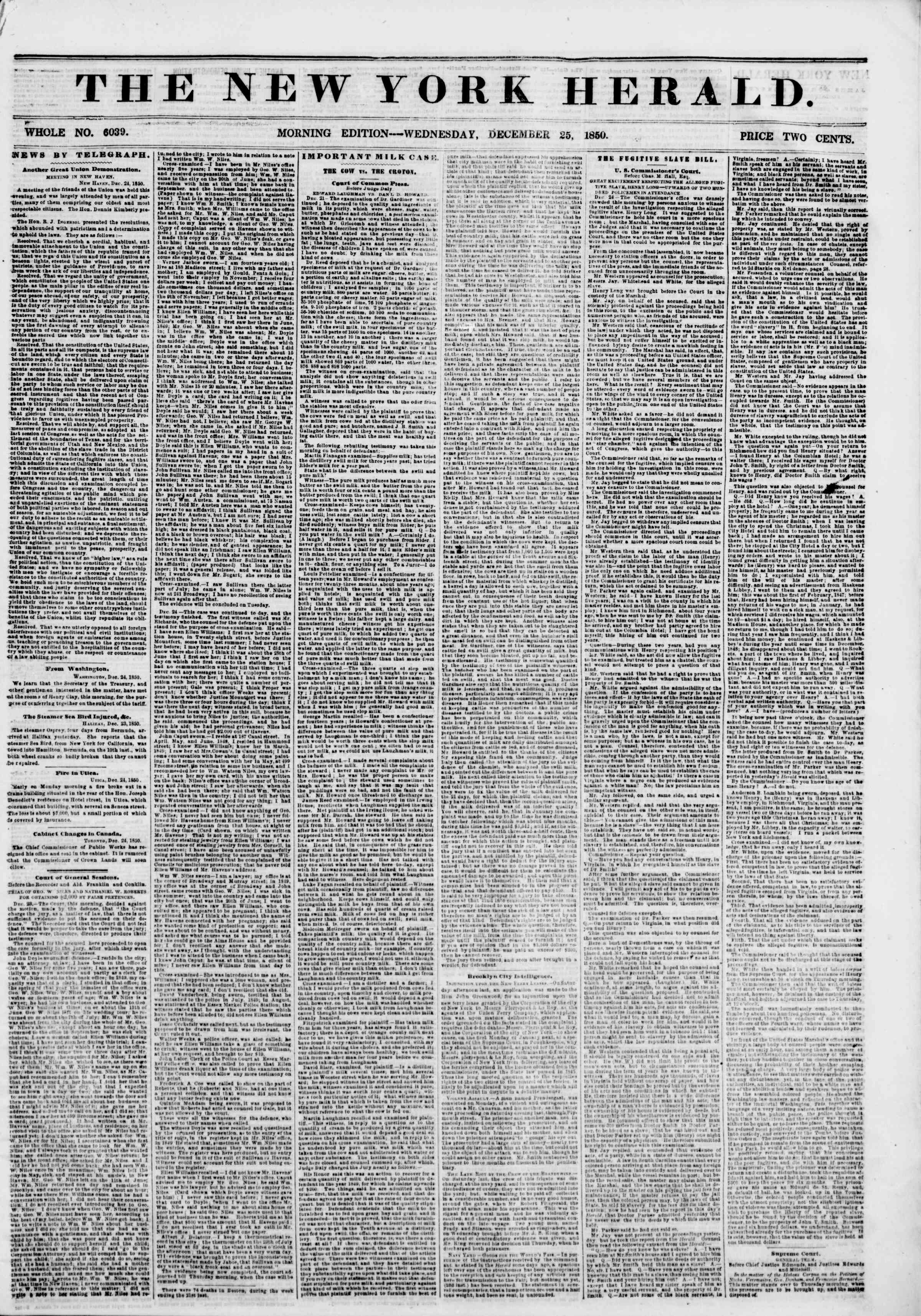 Newspaper of The New York Herald dated December 25, 1850 Page 1