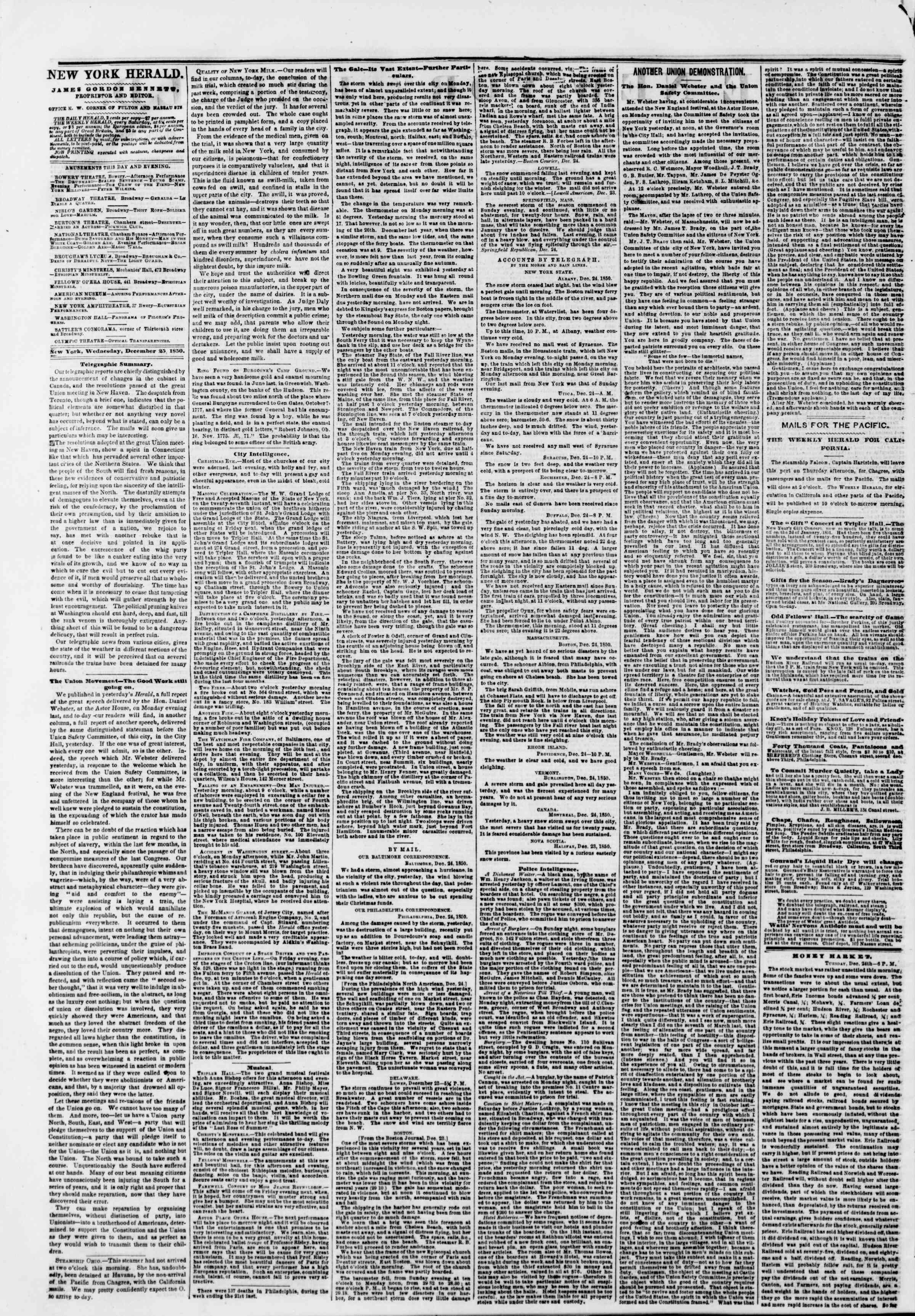 Newspaper of The New York Herald dated December 25, 1850 Page 2