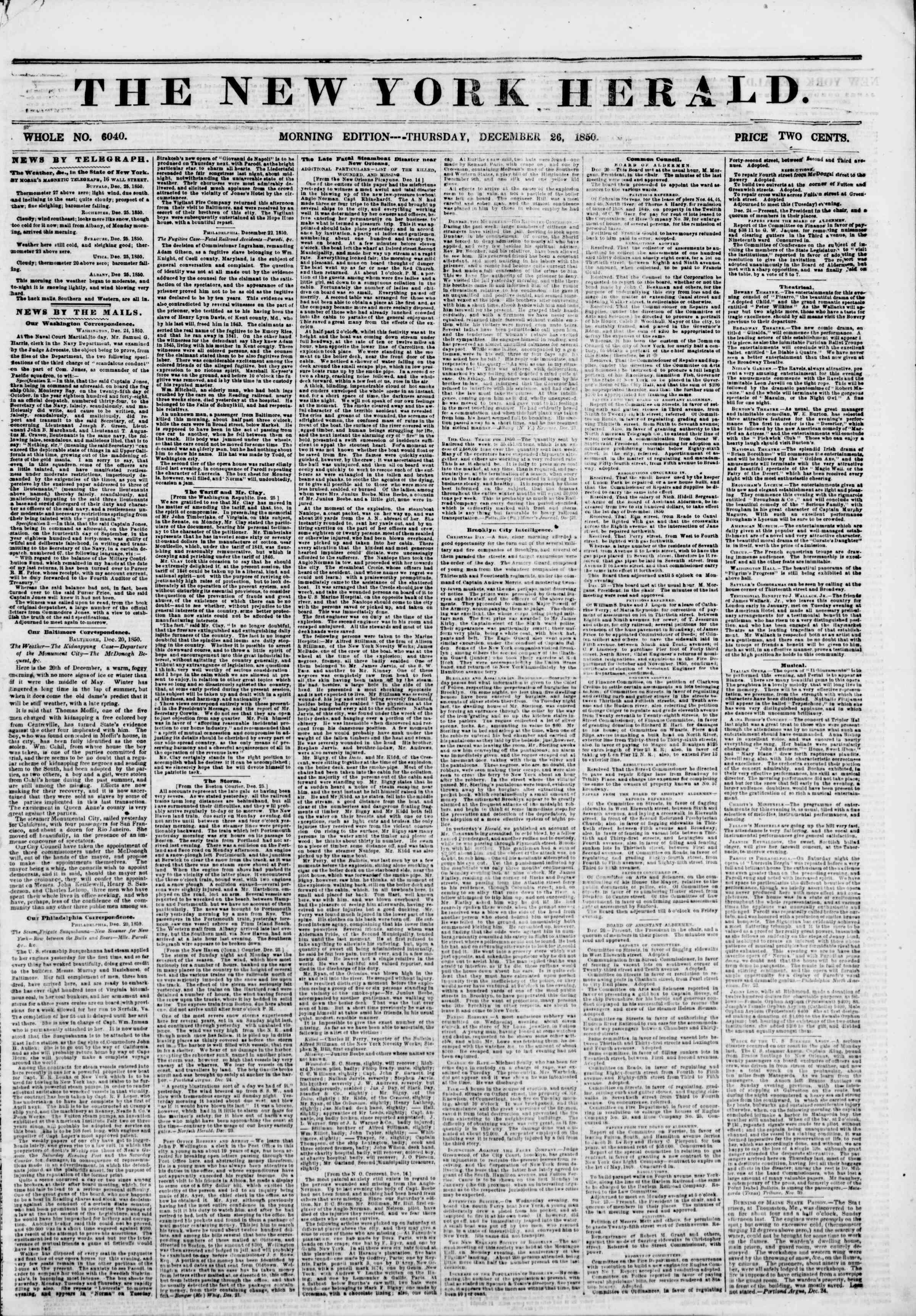 Newspaper of The New York Herald dated December 26, 1850 Page 1