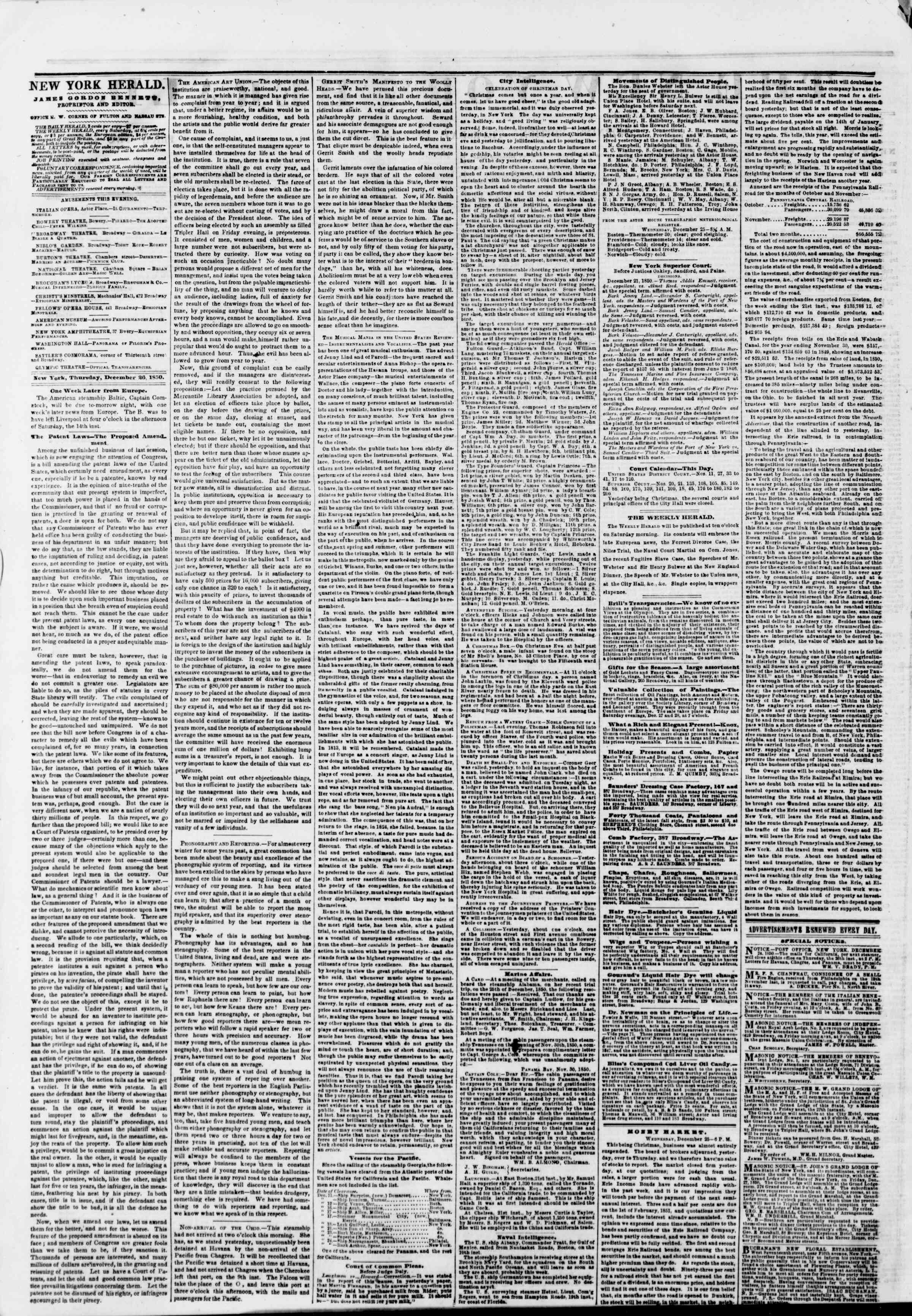 Newspaper of The New York Herald dated December 26, 1850 Page 2