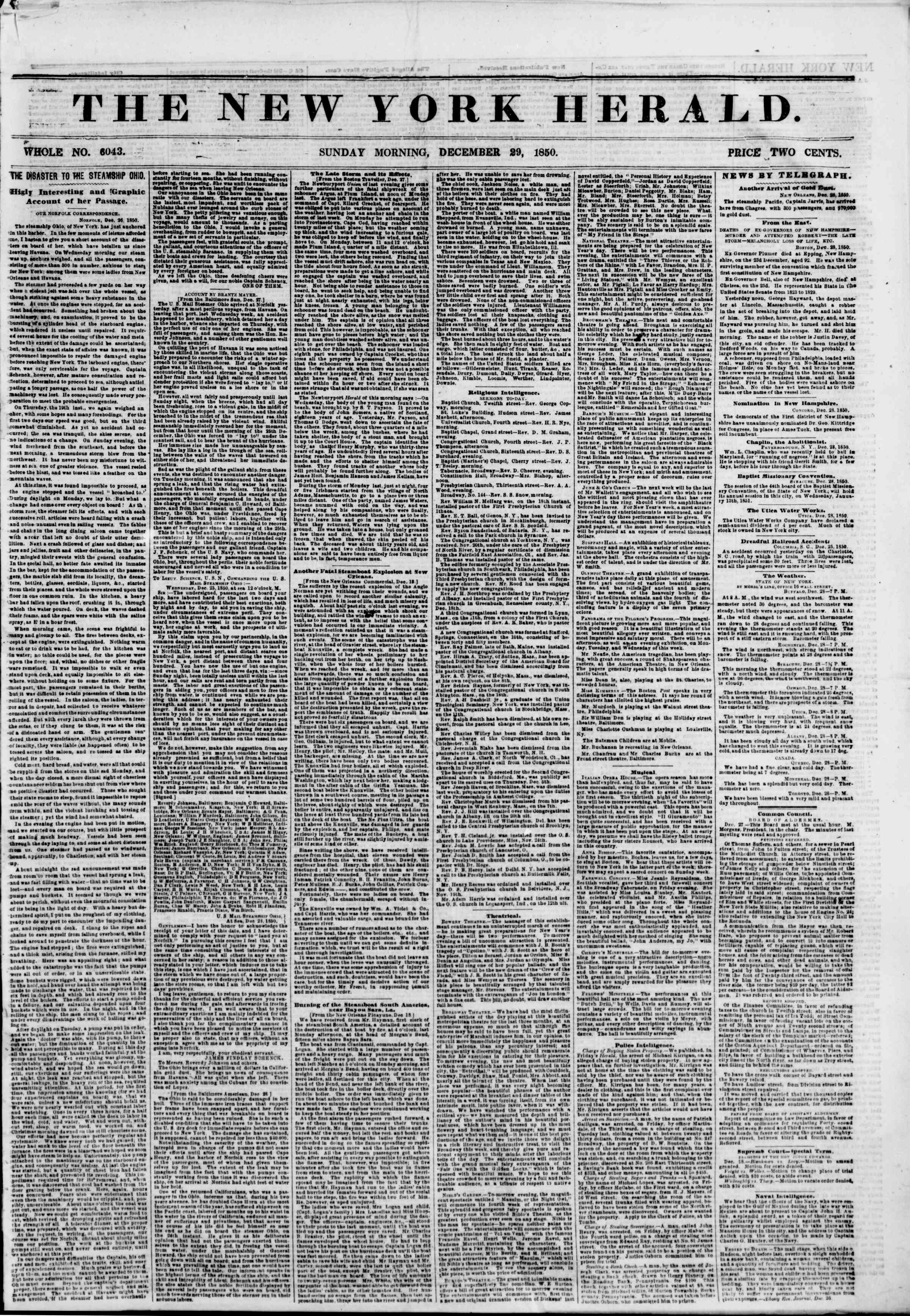Newspaper of The New York Herald dated December 29, 1850 Page 1