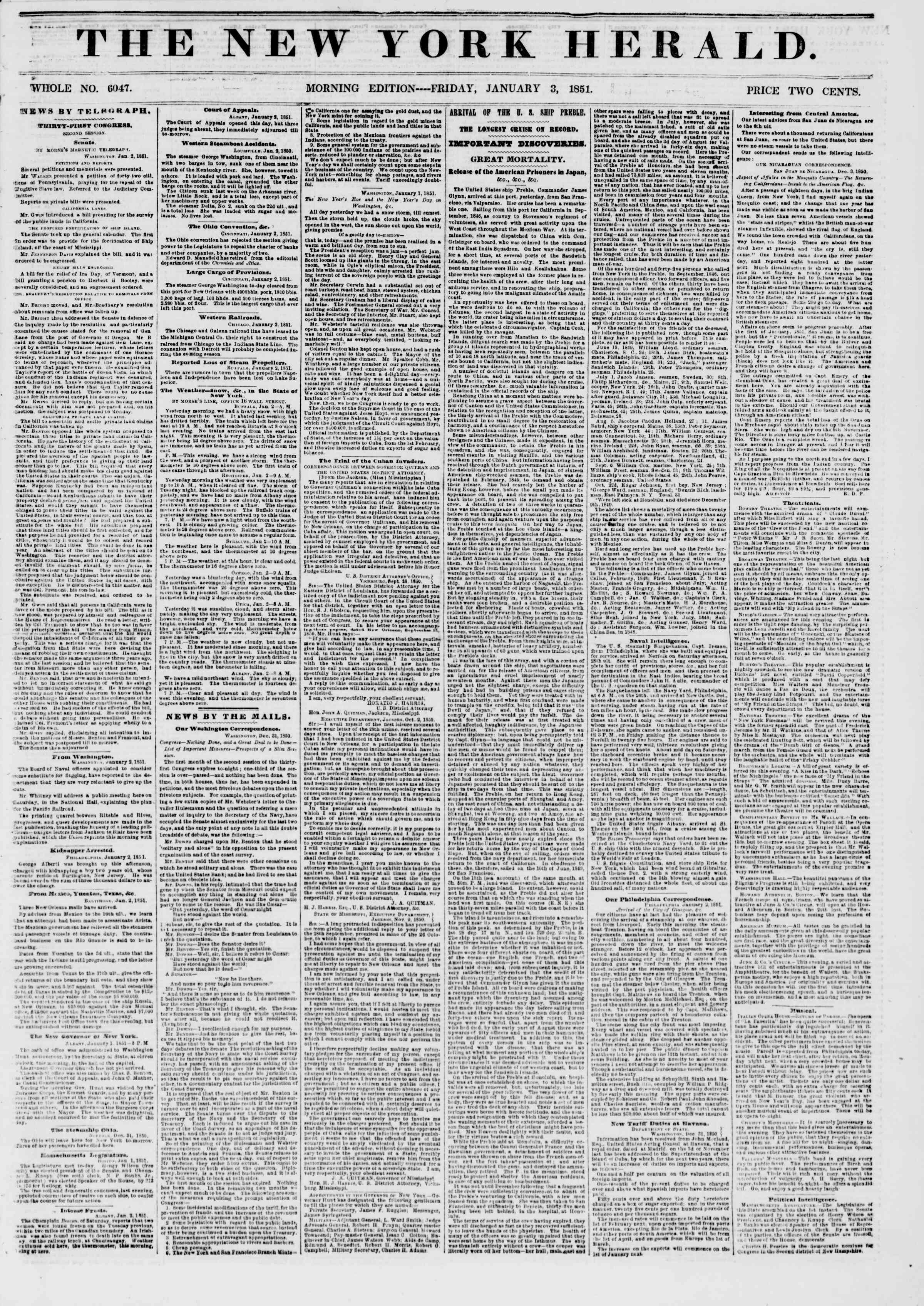 Newspaper of The New York Herald dated January 3, 1851 Page 1