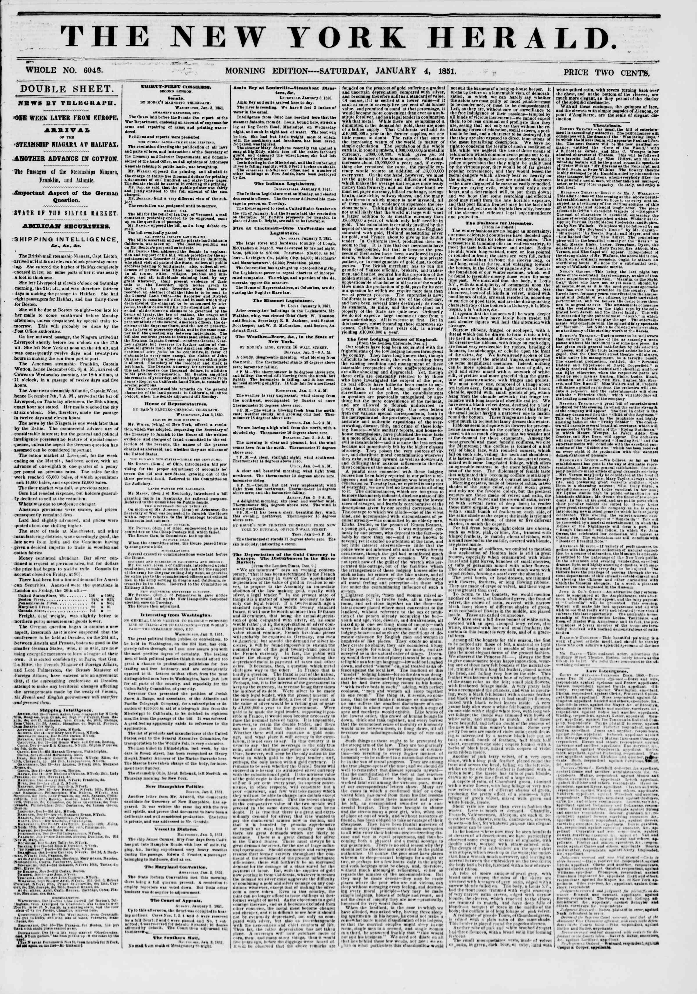 Newspaper of The New York Herald dated January 4, 1851 Page 1