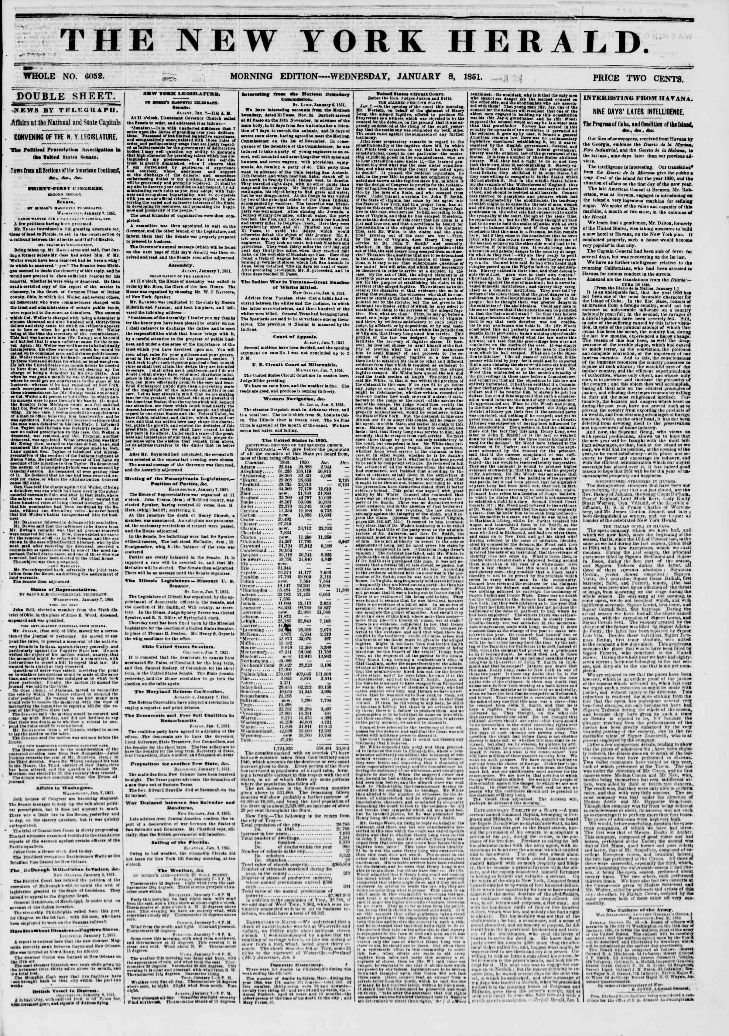 Newspaper of The New York Herald dated January 8, 1851 Page 1